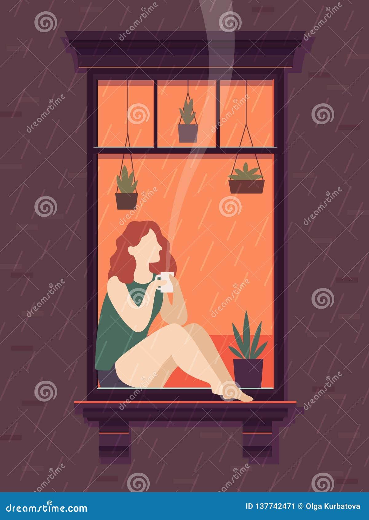 Menina na janela com café A pessoa de Windows aprecia beber o tempo só do copo de chá do café, ilustração do vetor dos desenhos a
