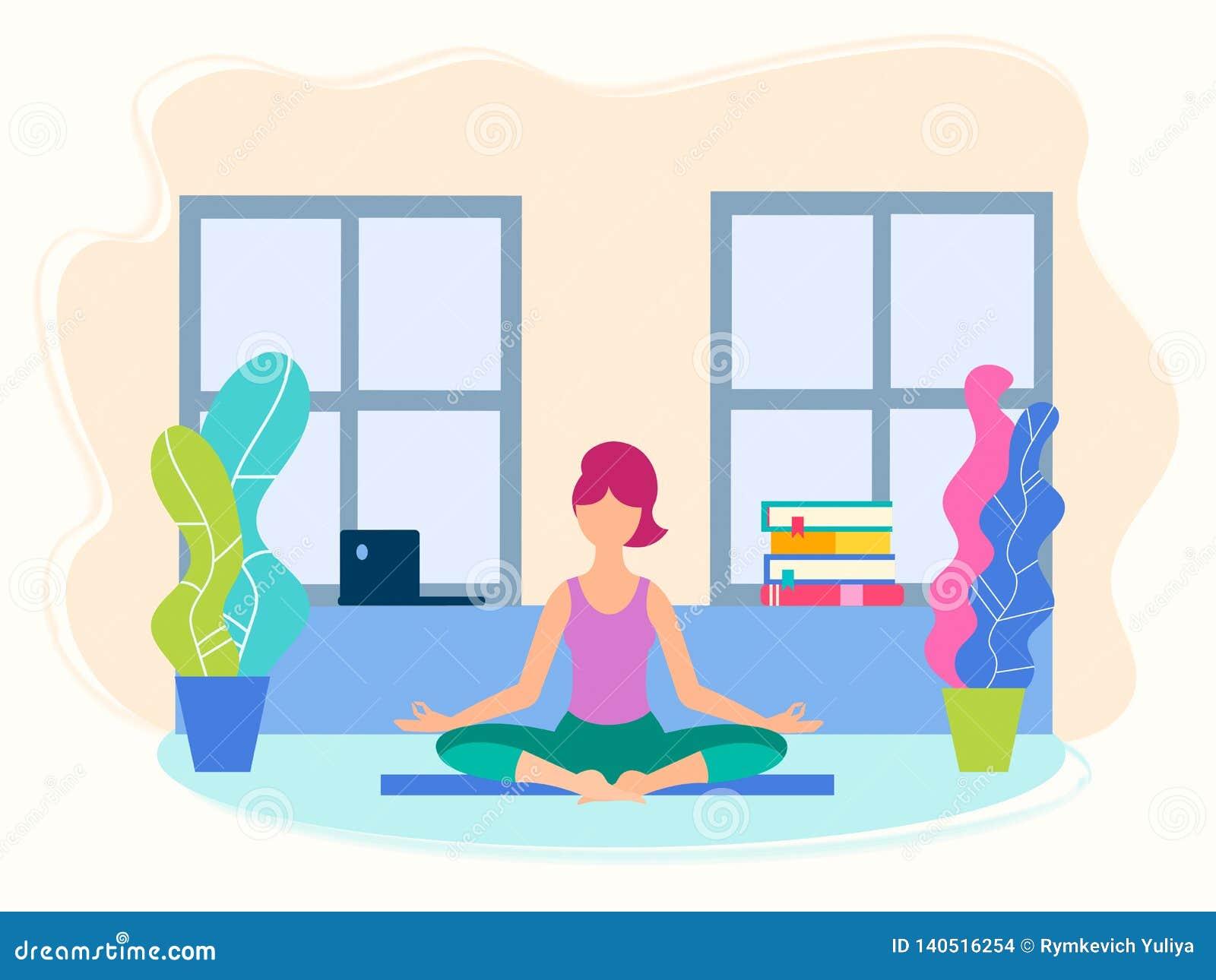 Menina na posição da ioga em sua sala