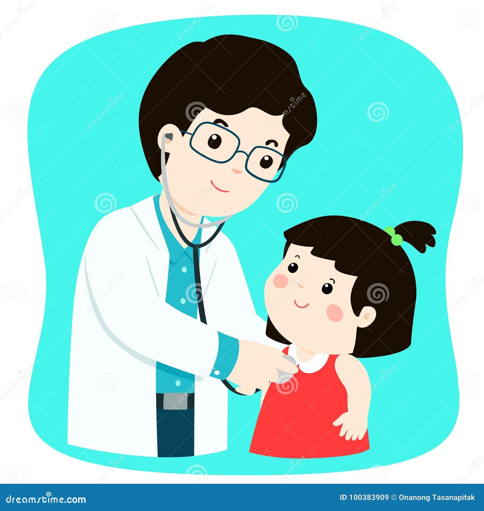 Menina na verificação médica acima com o doutor masculino do pediatra