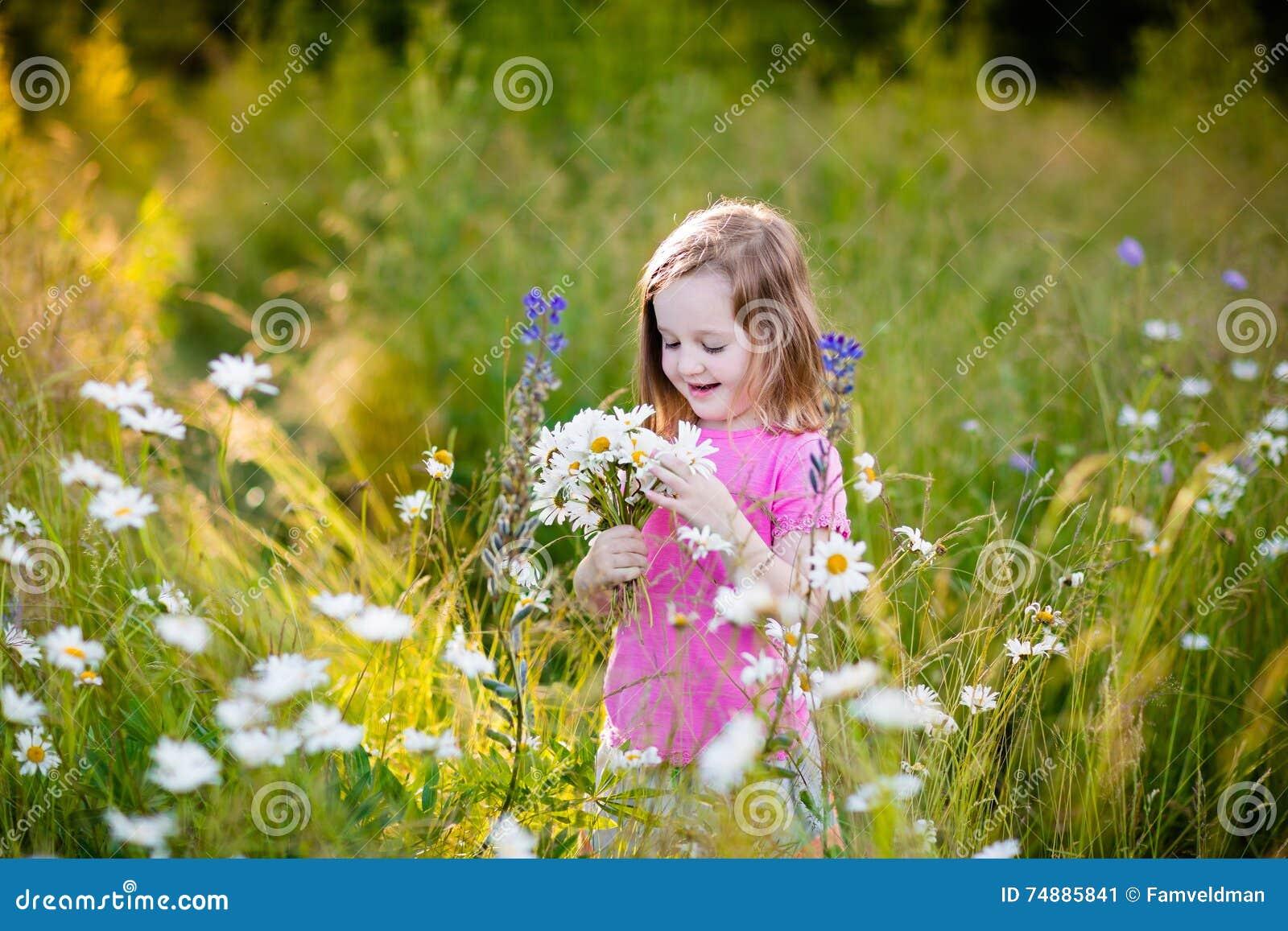 Menina no campo de flor da margarida