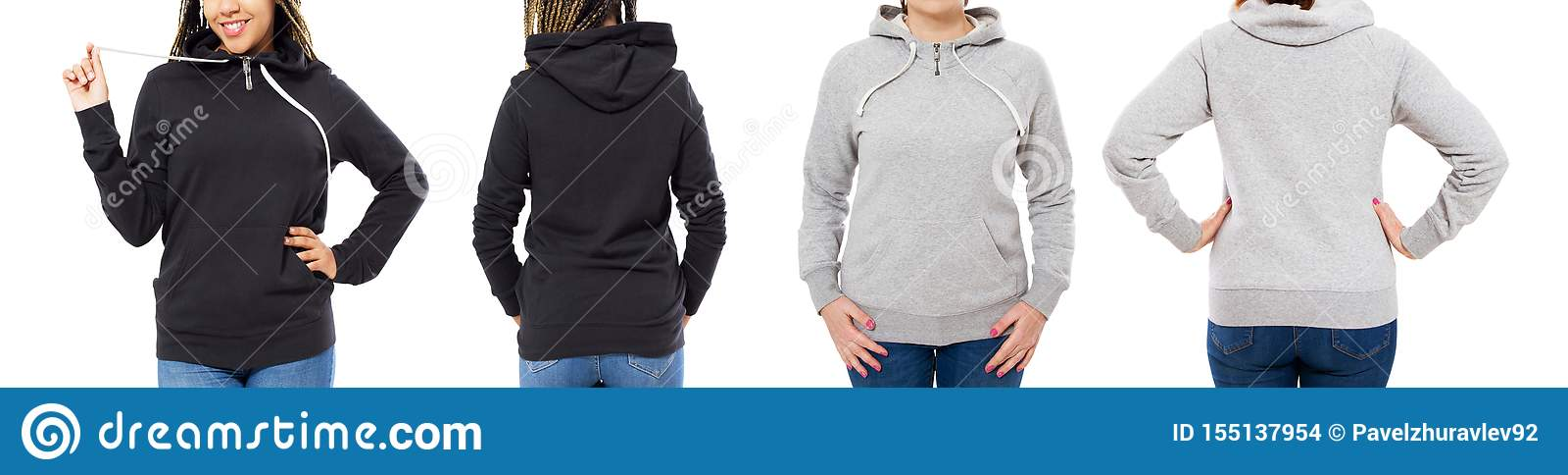 Menina no hoodie preto à moda isolado no fundo branco: menina na parte dianteira cinzenta da capa e na vista traseira isolada