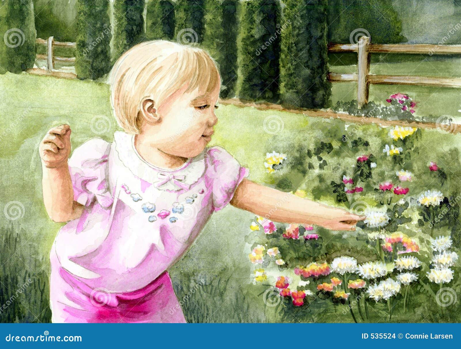 Menina no jardim de flor