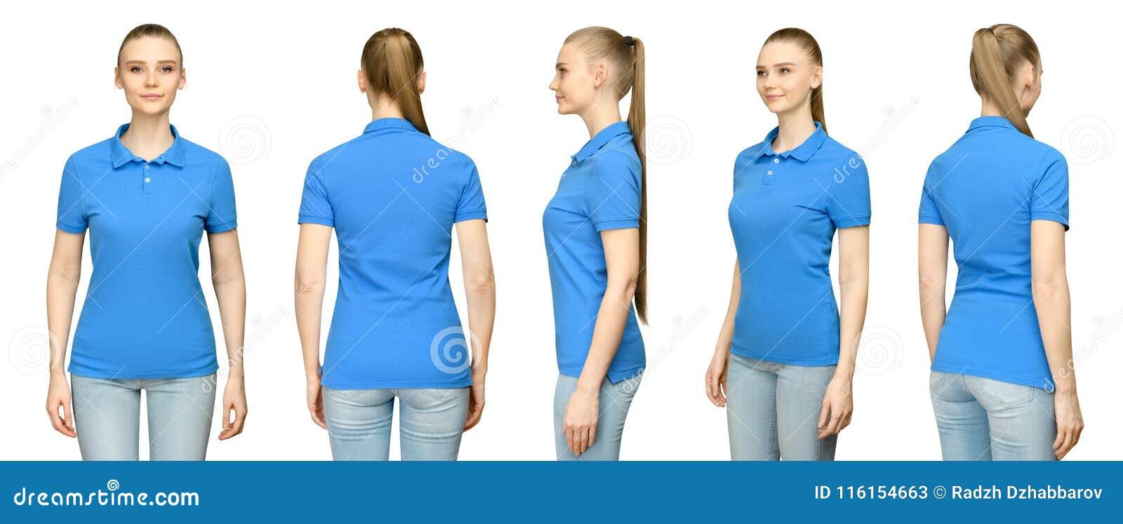 Menina no projeto azul vazio do modelo do polo para a cópia e a jovem mulher do molde do conceito na opinião traseira da parte di