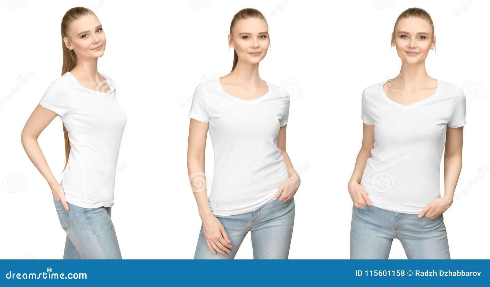 Menina no projeto branco vazio do modelo do tshirt para a cópia e a jovem mulher do molde do conceito na parte dianteira do t-shi
