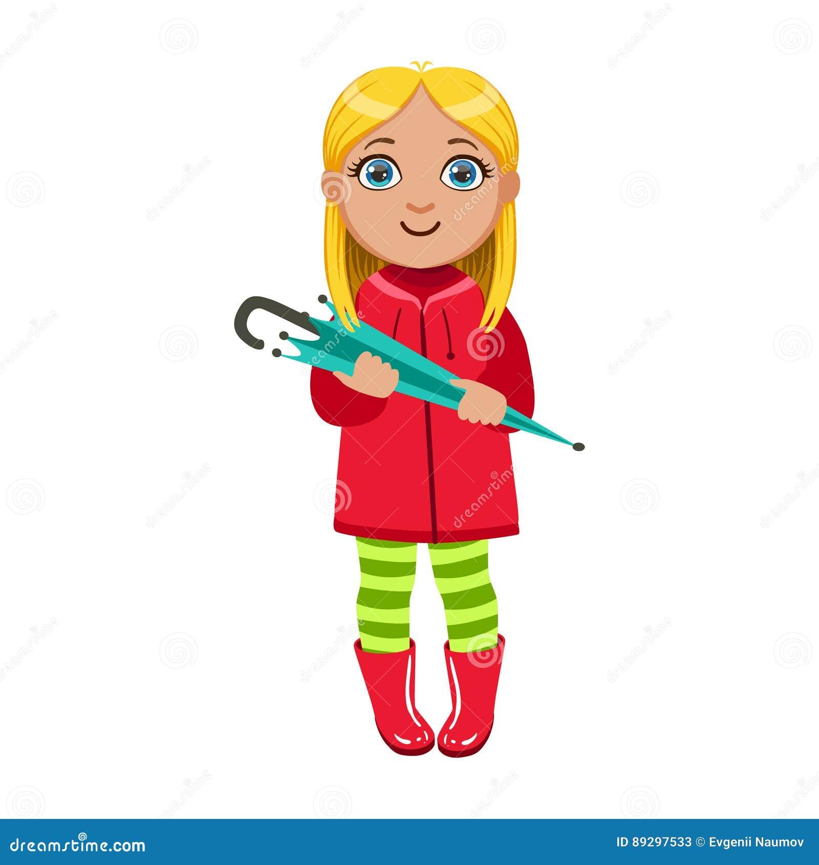 A menina no revestimento vermelho com guarda-chuva, criança na chuva de Autumn Clothes In Fall Season Enjoyingn e tempo chuvoso,