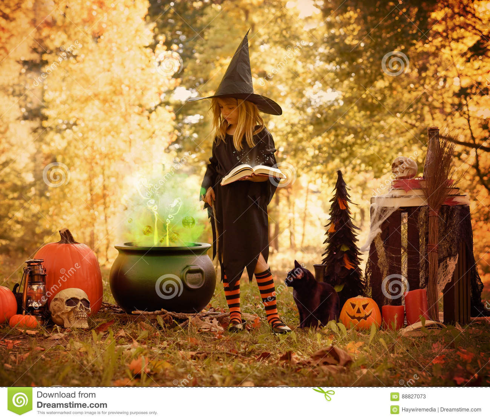 Menina no traje da bruxa fora com livro mágico