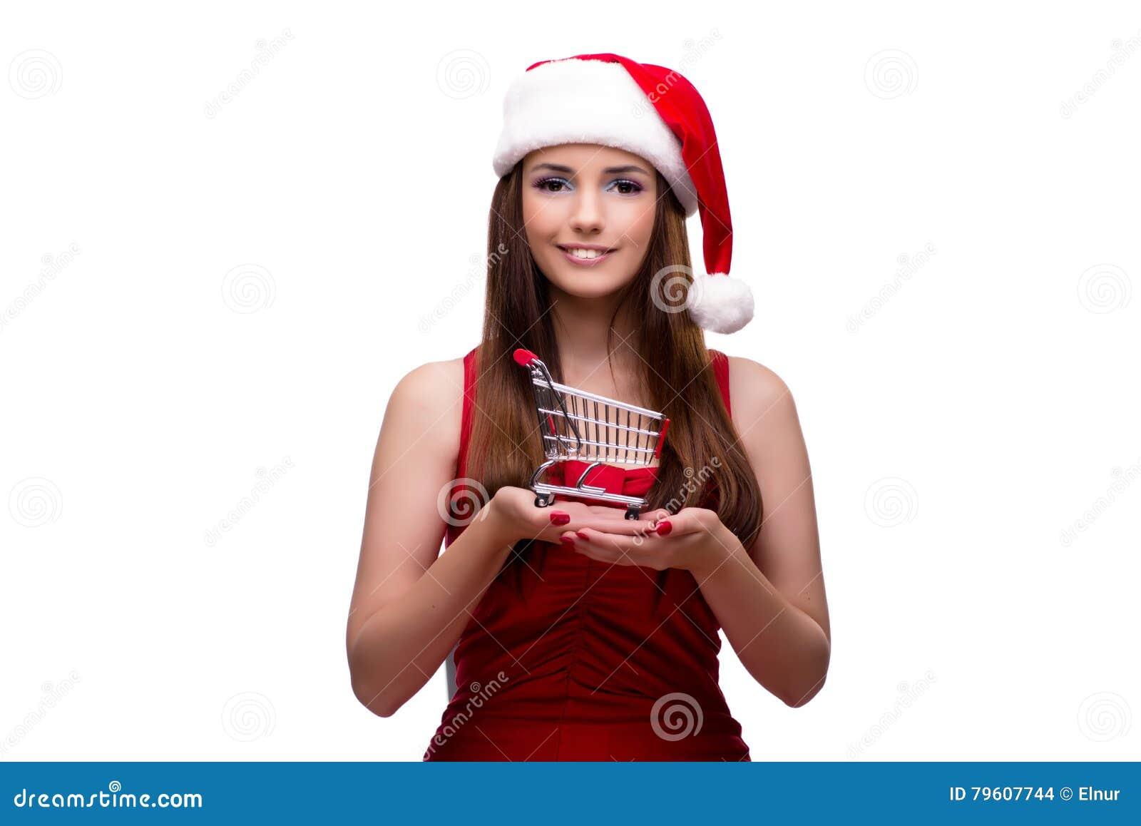 A menina nova de Santa no conceito do Natal isolada no branco
