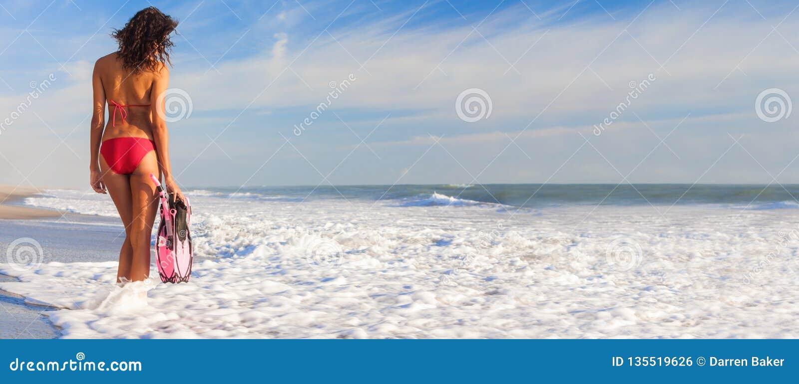 Menina panorâmico da mulher do biquini da vista traseira na praia