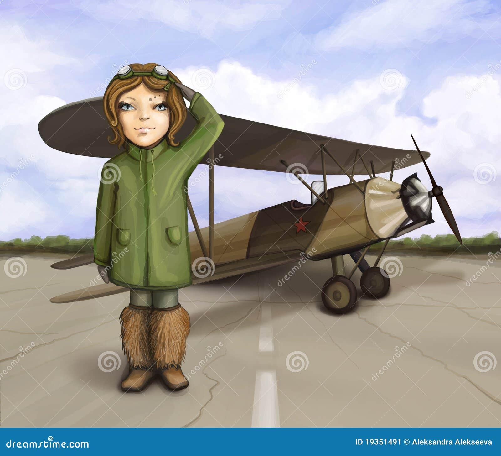 Menina pequena do aviador que está o avião próximo