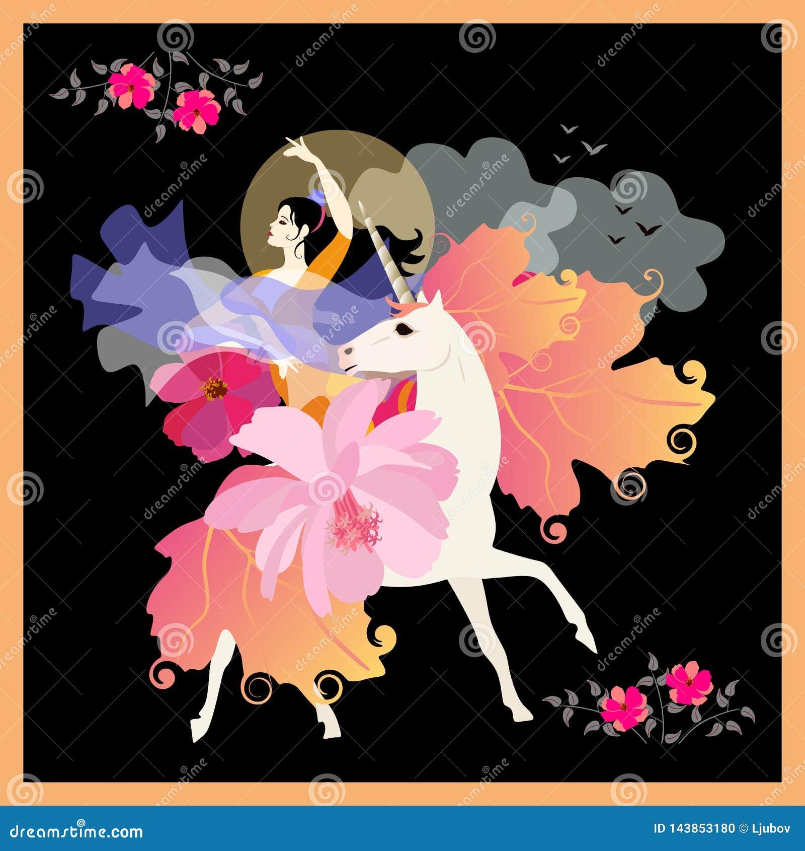 Menina preto-de cabelo bonita com o fã no formulário da flor e do xaile na forma do pássaro de voo, galope no unicórnio