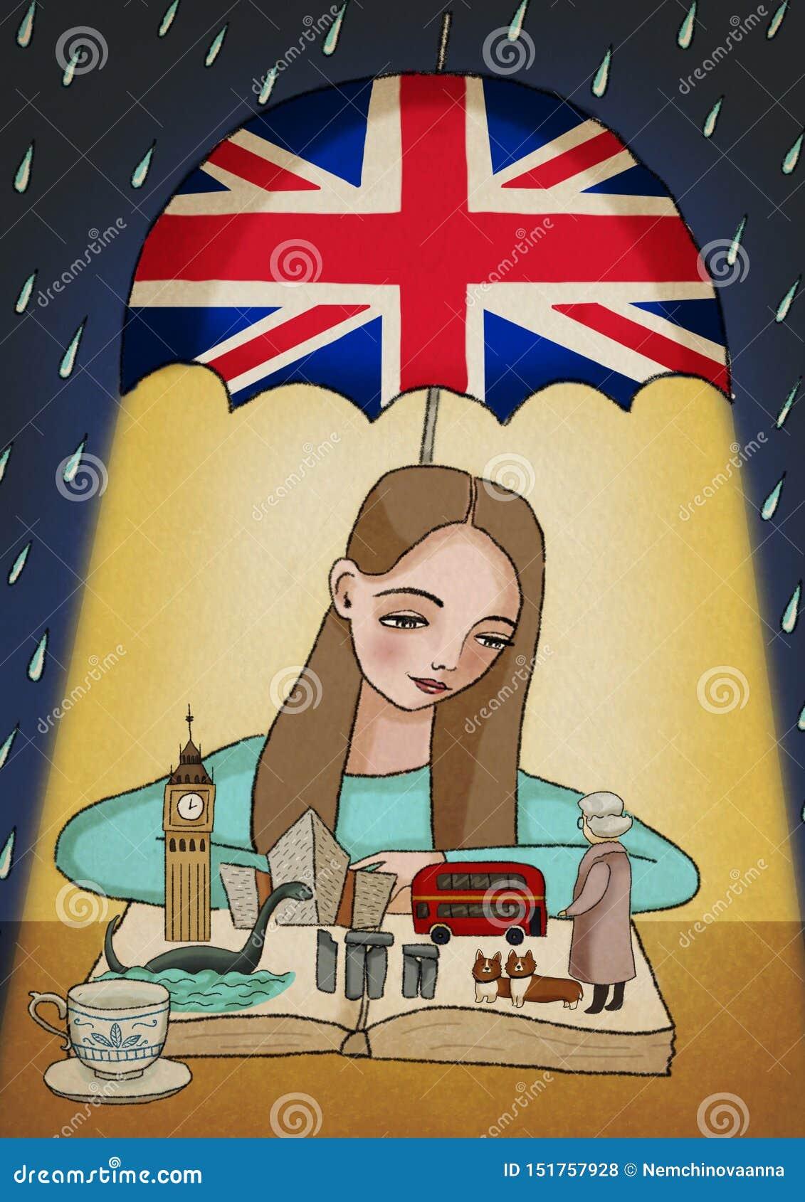 Menina que aprende o inglês britânico, olhando o livro com coisas dos símbolos, as tradicionais e as conhecidas do Reino Unido de