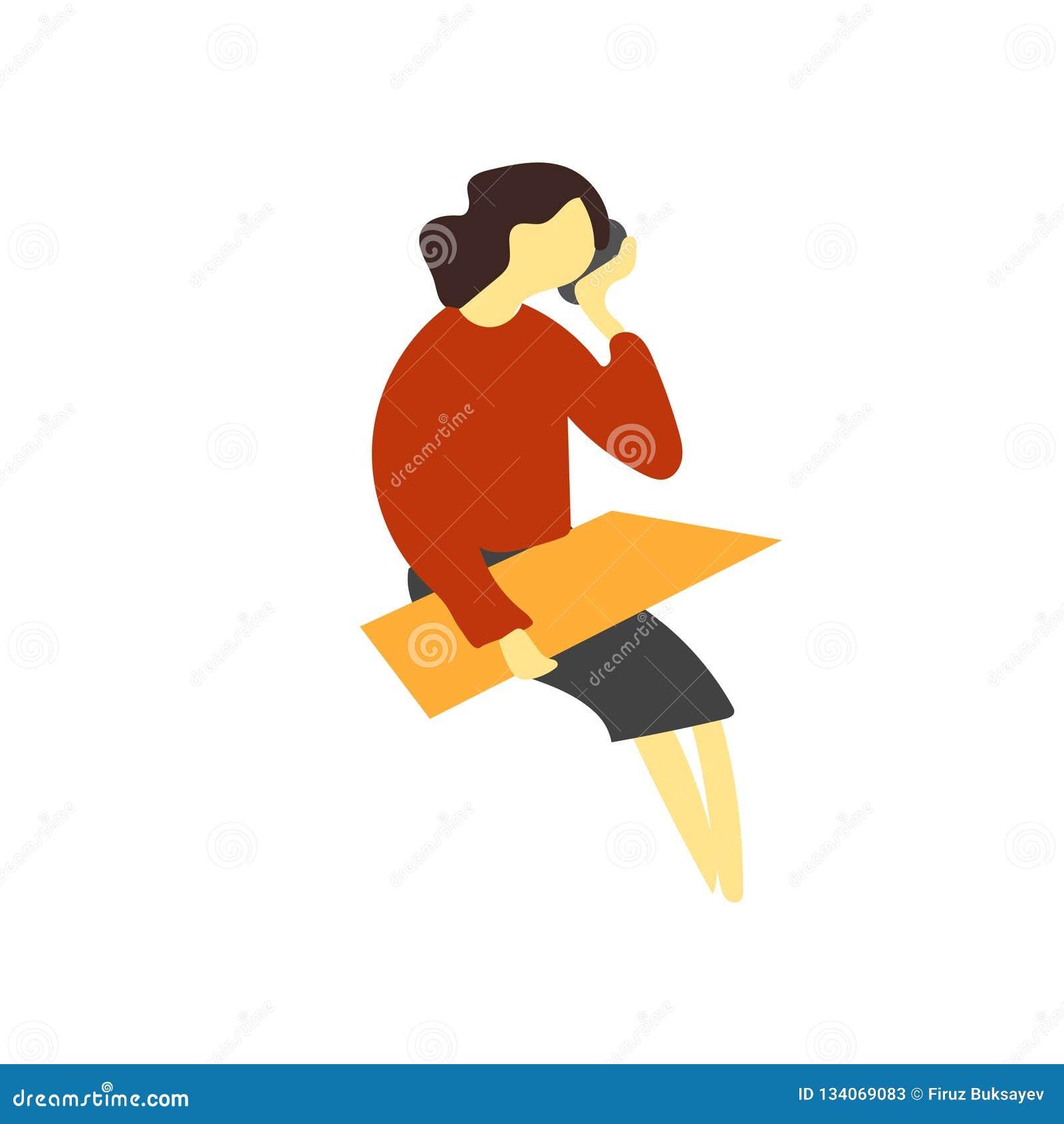 Menina que fala no sinal e no símbolo do vetor do vetor do telefone isolados no fundo branco, menina que fala no conceito do logo