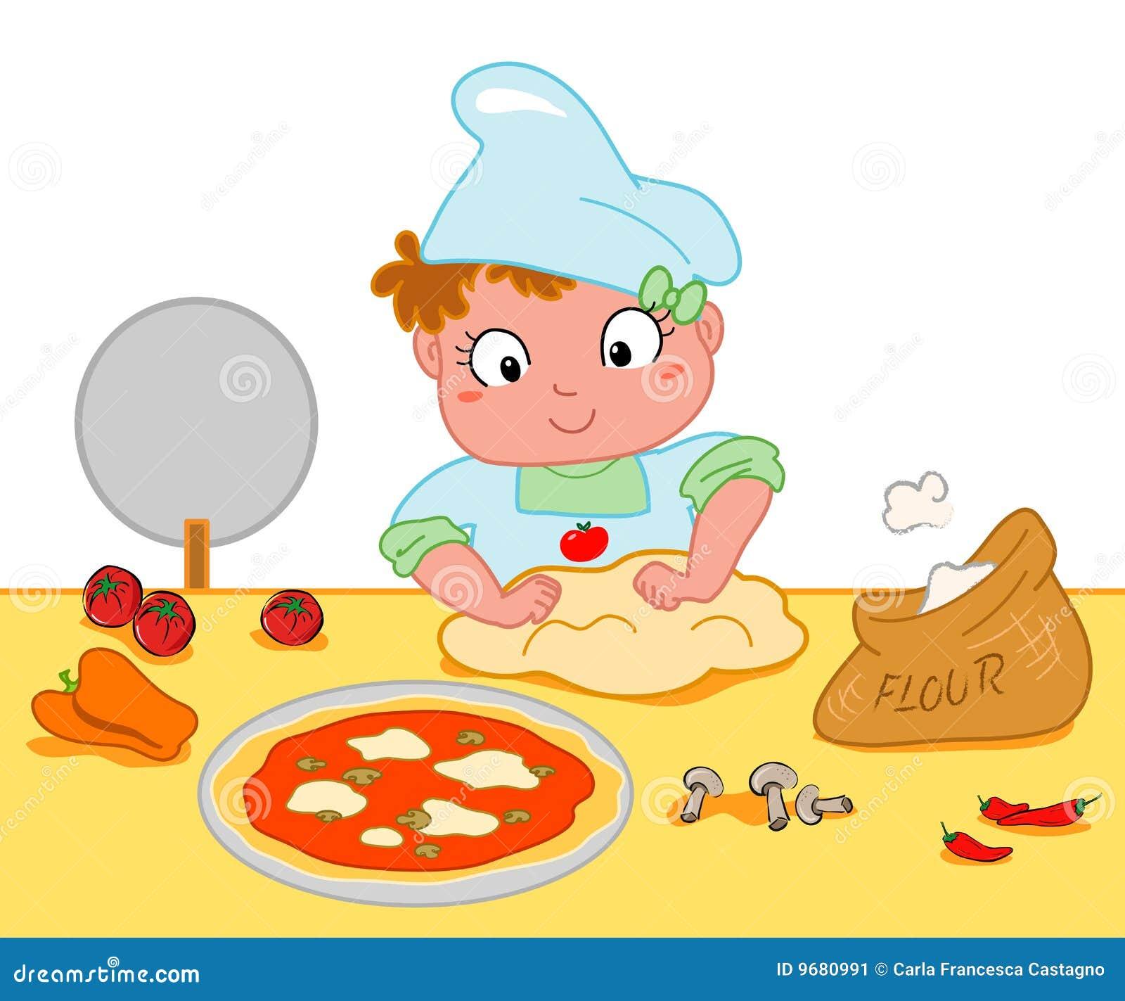 Menina que faz a pizza