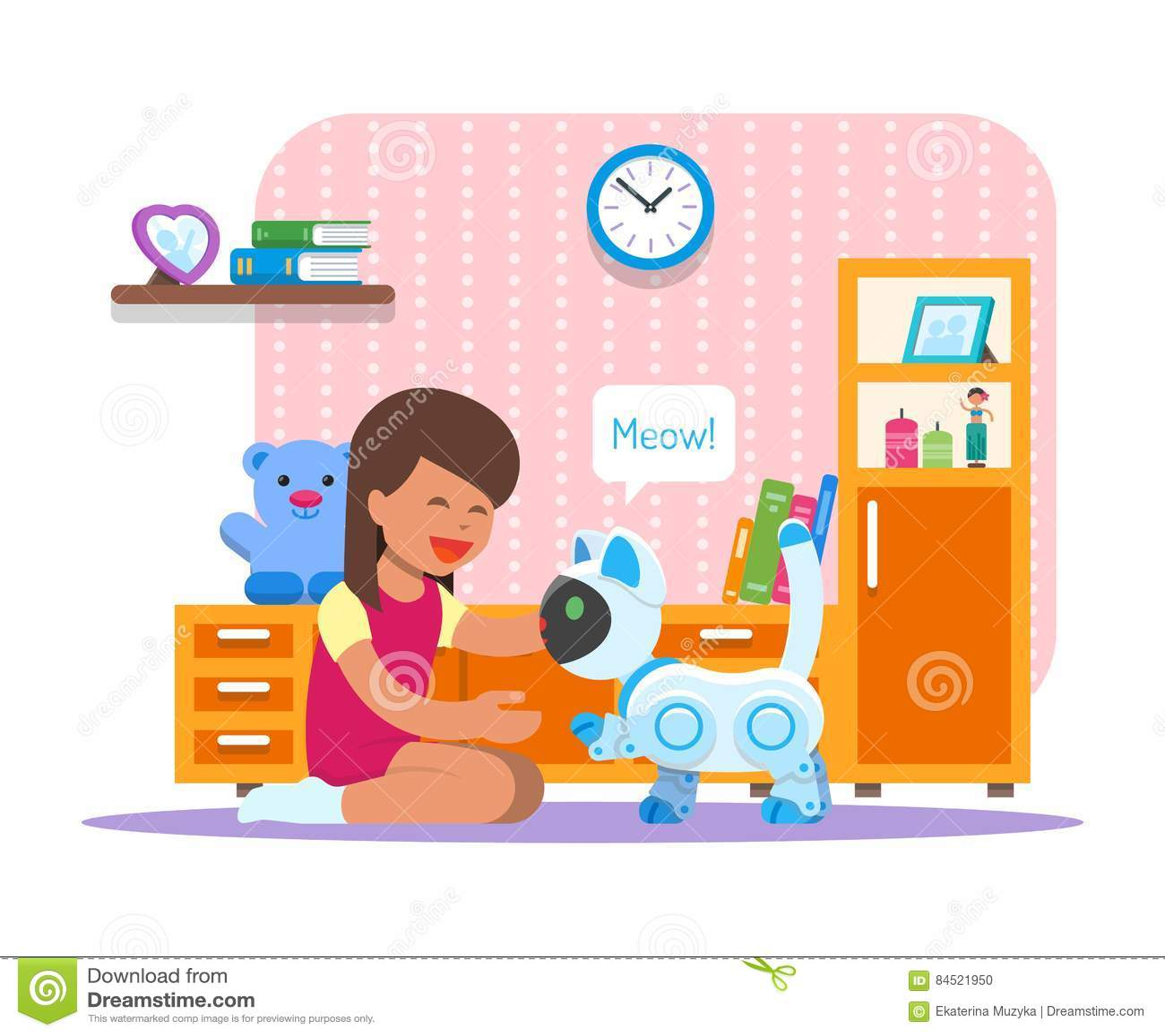 Menina que joga com o robô home do gato Ilustração do vetor do conceito da tecnologia da robótica