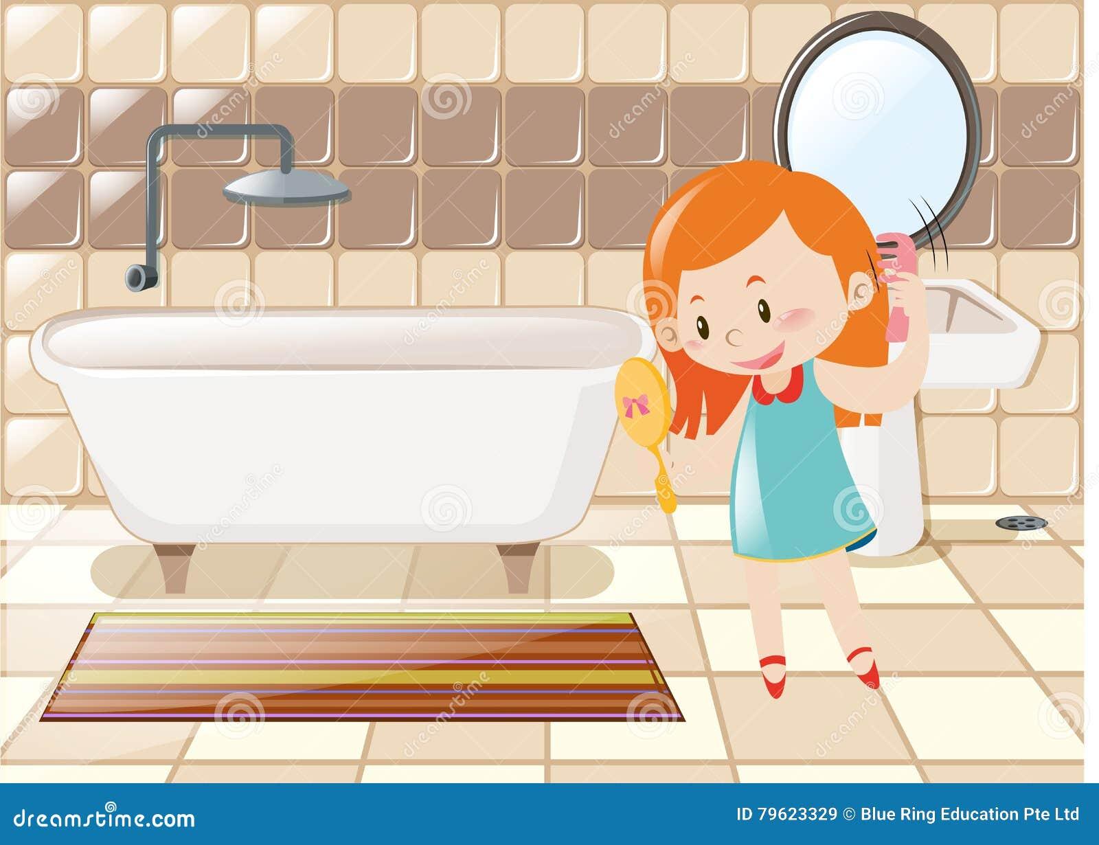 Menina que penteia o cabelo no banheiro