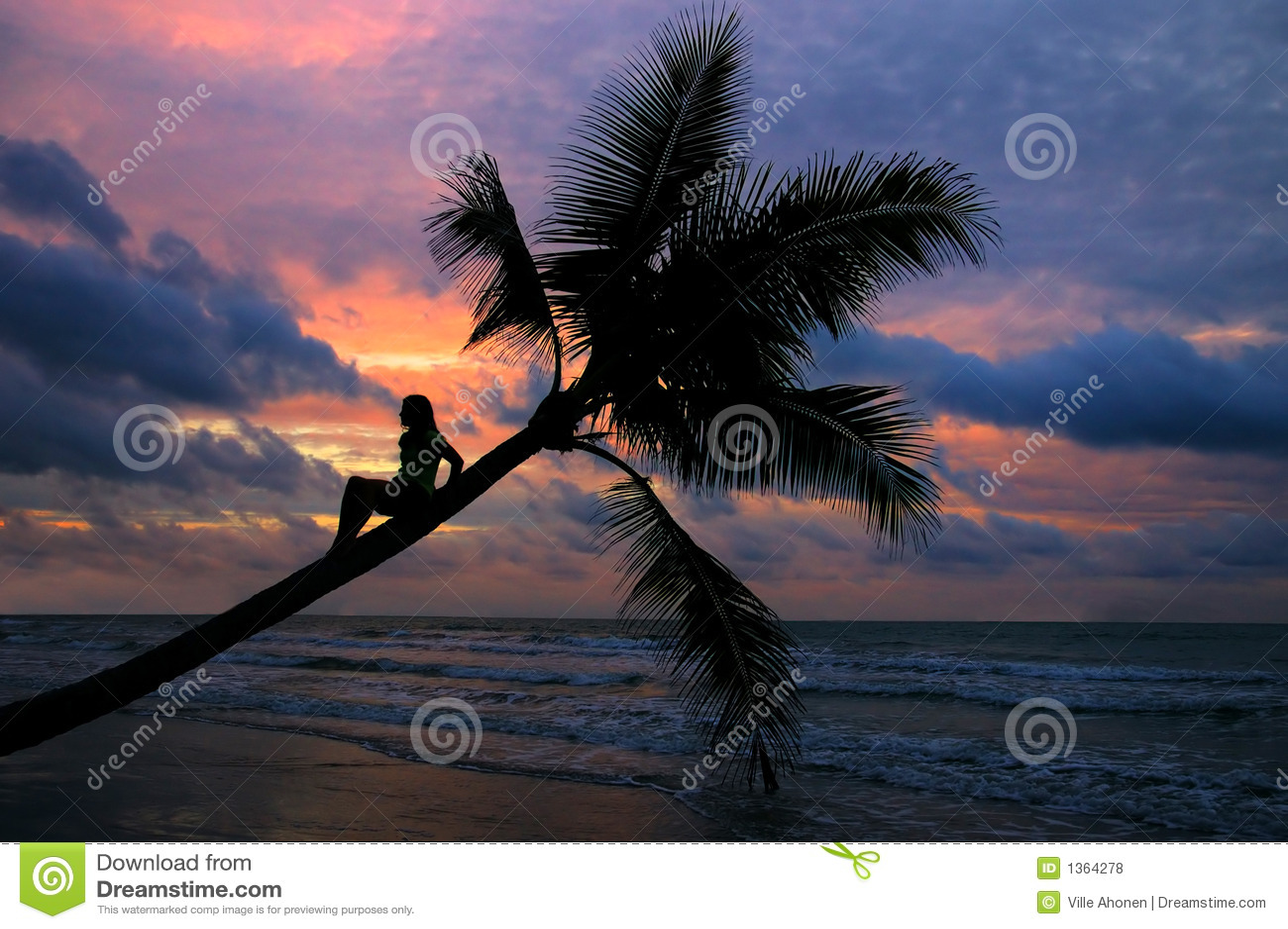 Menina que senta-se em uma palmeira