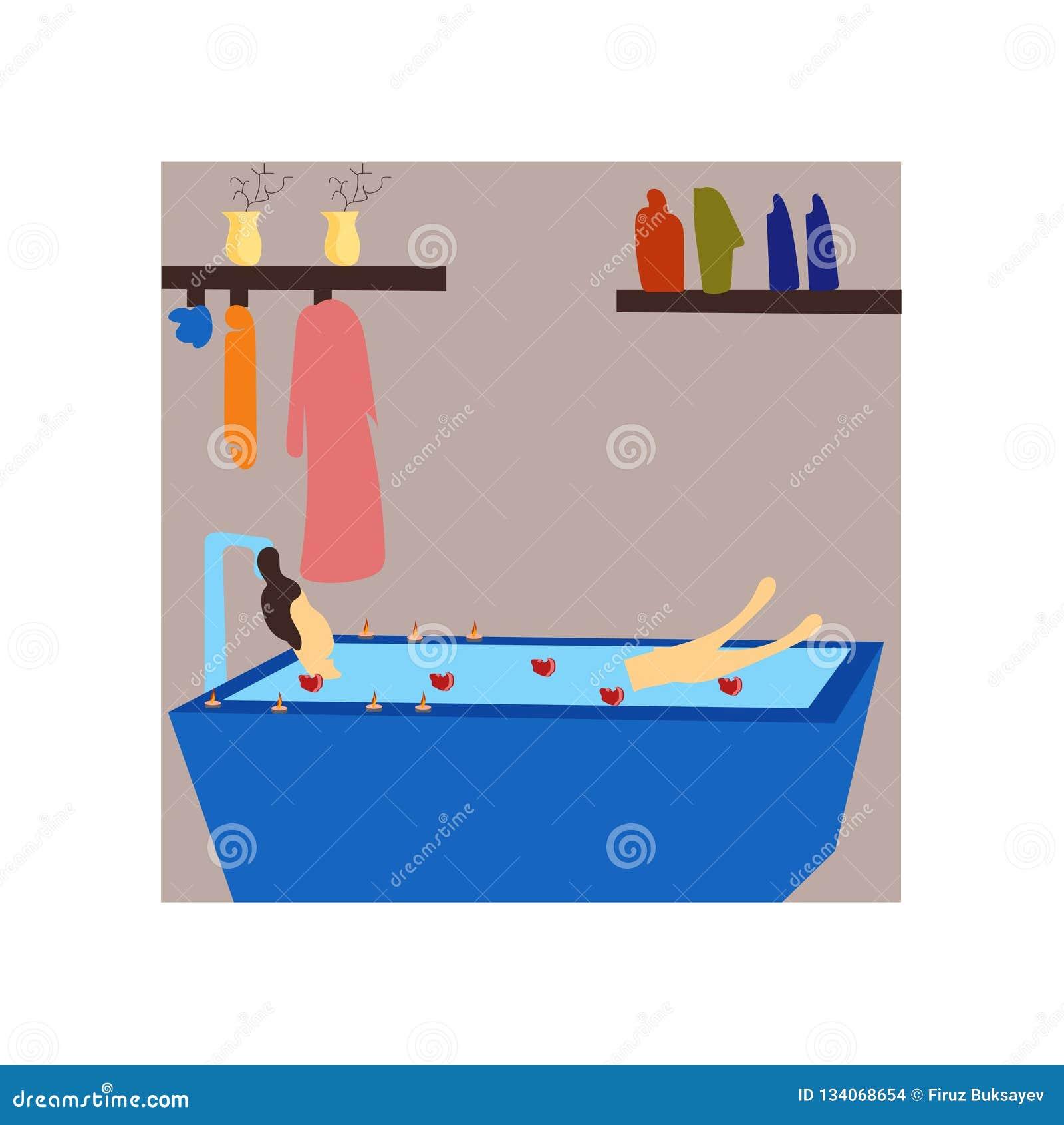 Menina que tem o sinal e o símbolo do vetor do vetor do banho isolados no fundo branco, menina que tem o conceito do logotipo do