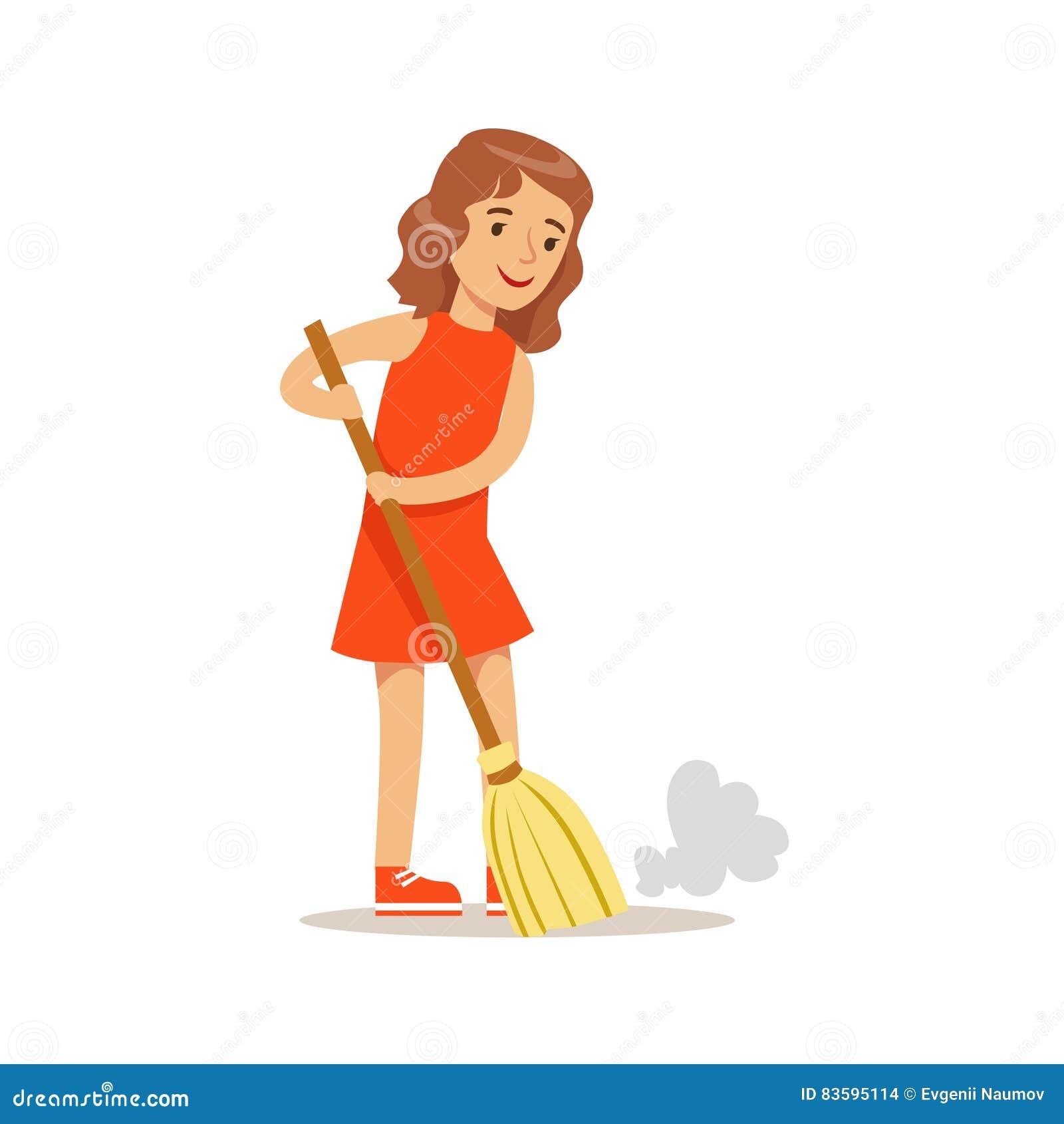 Menina que varre o assoalho com o caráter de sorriso da criança dos desenhos animados da vassoura que ajuda com tarefas doméstica