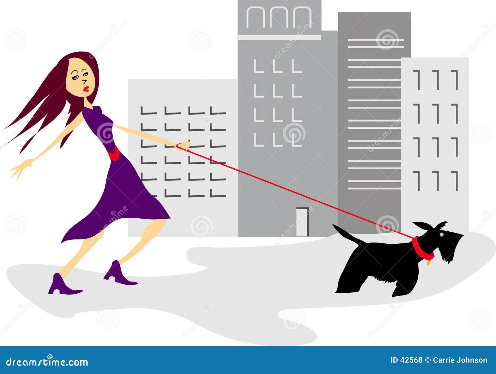 Menina Sassy com cão scotty