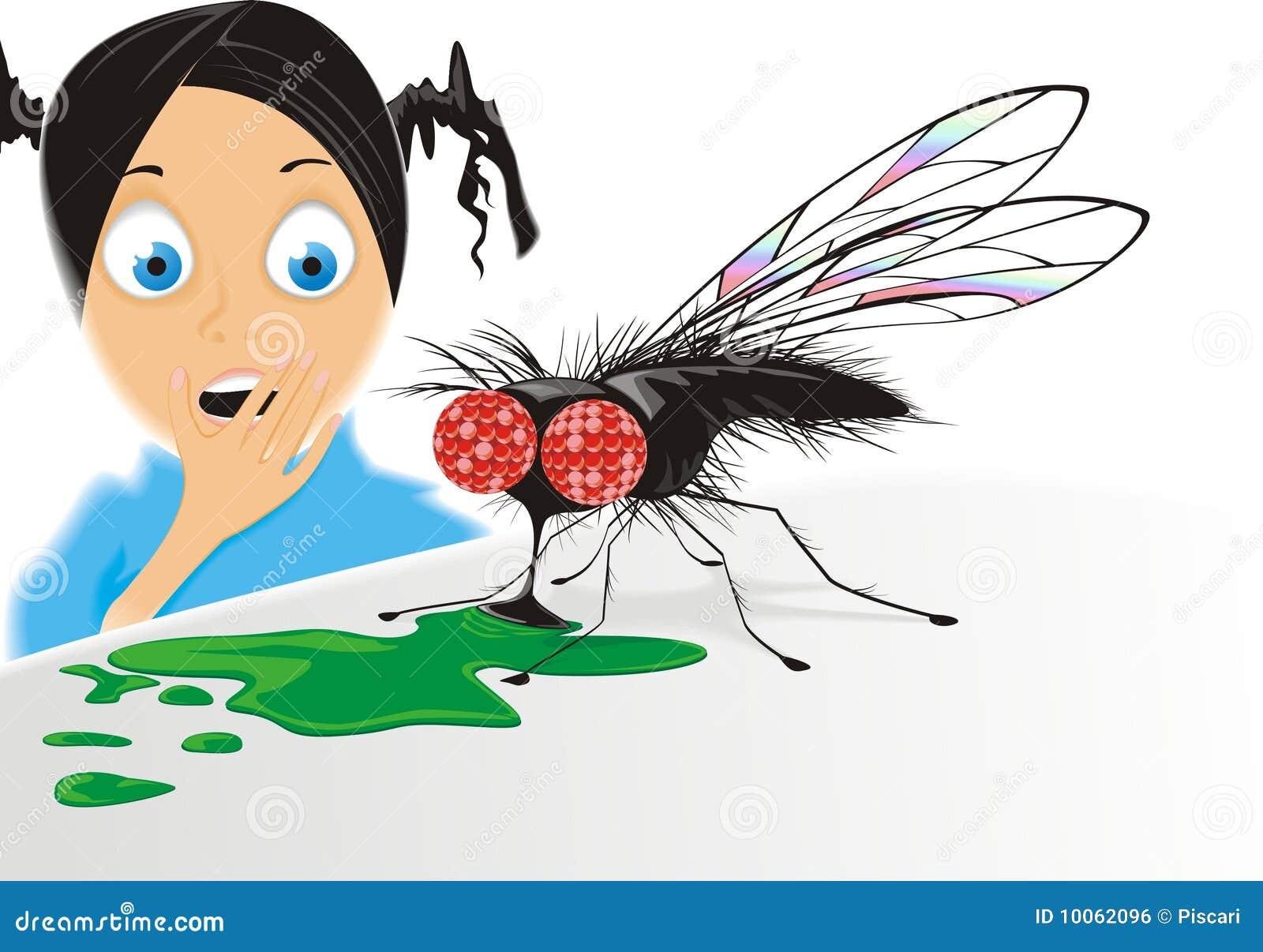 Menina Scared e mosca grande