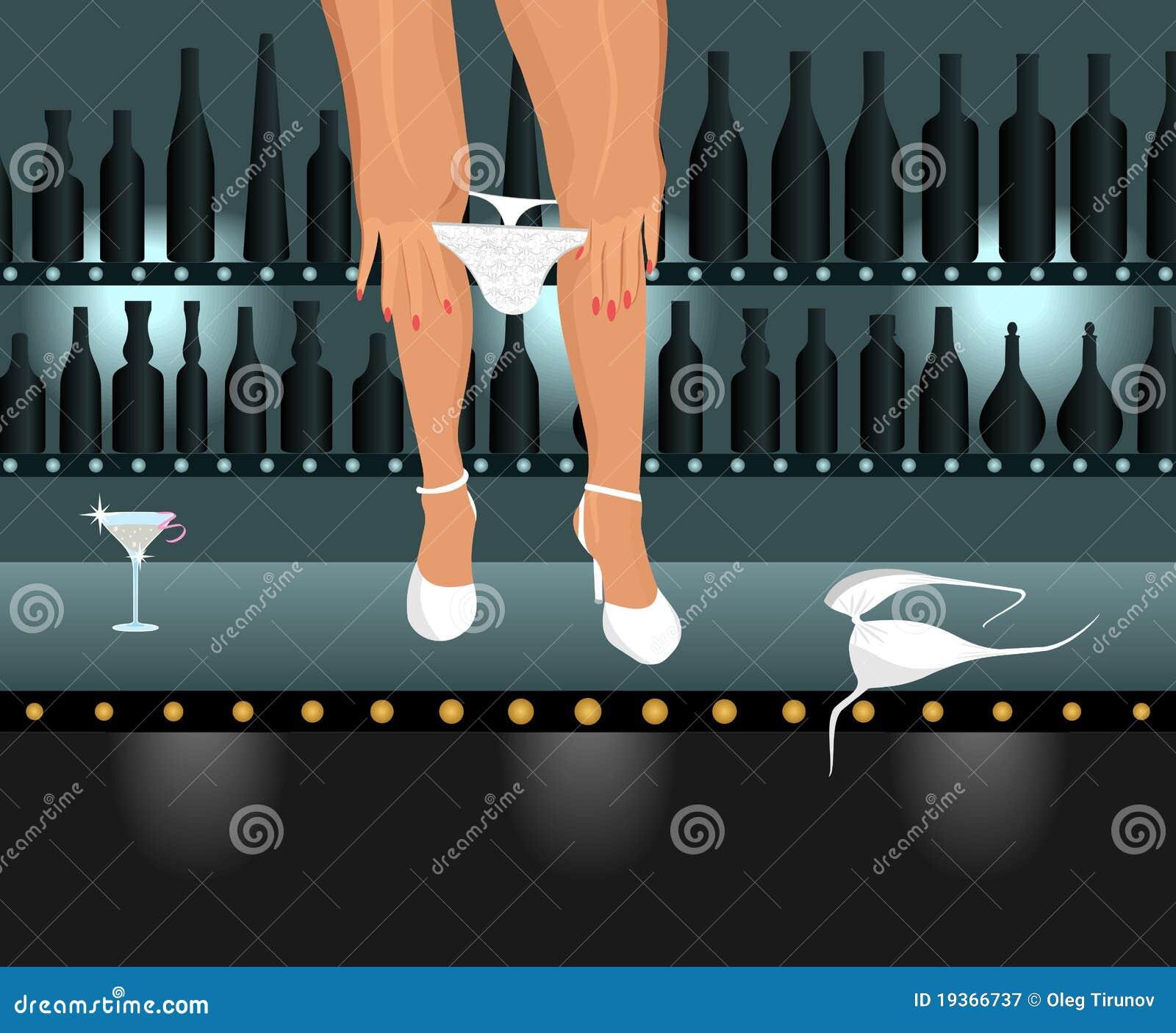 Menina  sexy  que toma abaixo do biquini na barra