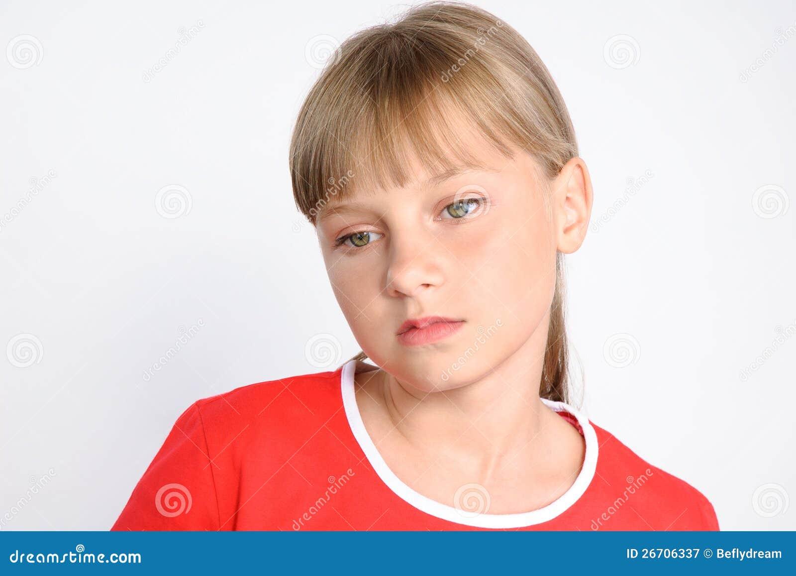 Menina triste do preteen, problemas do adolescente