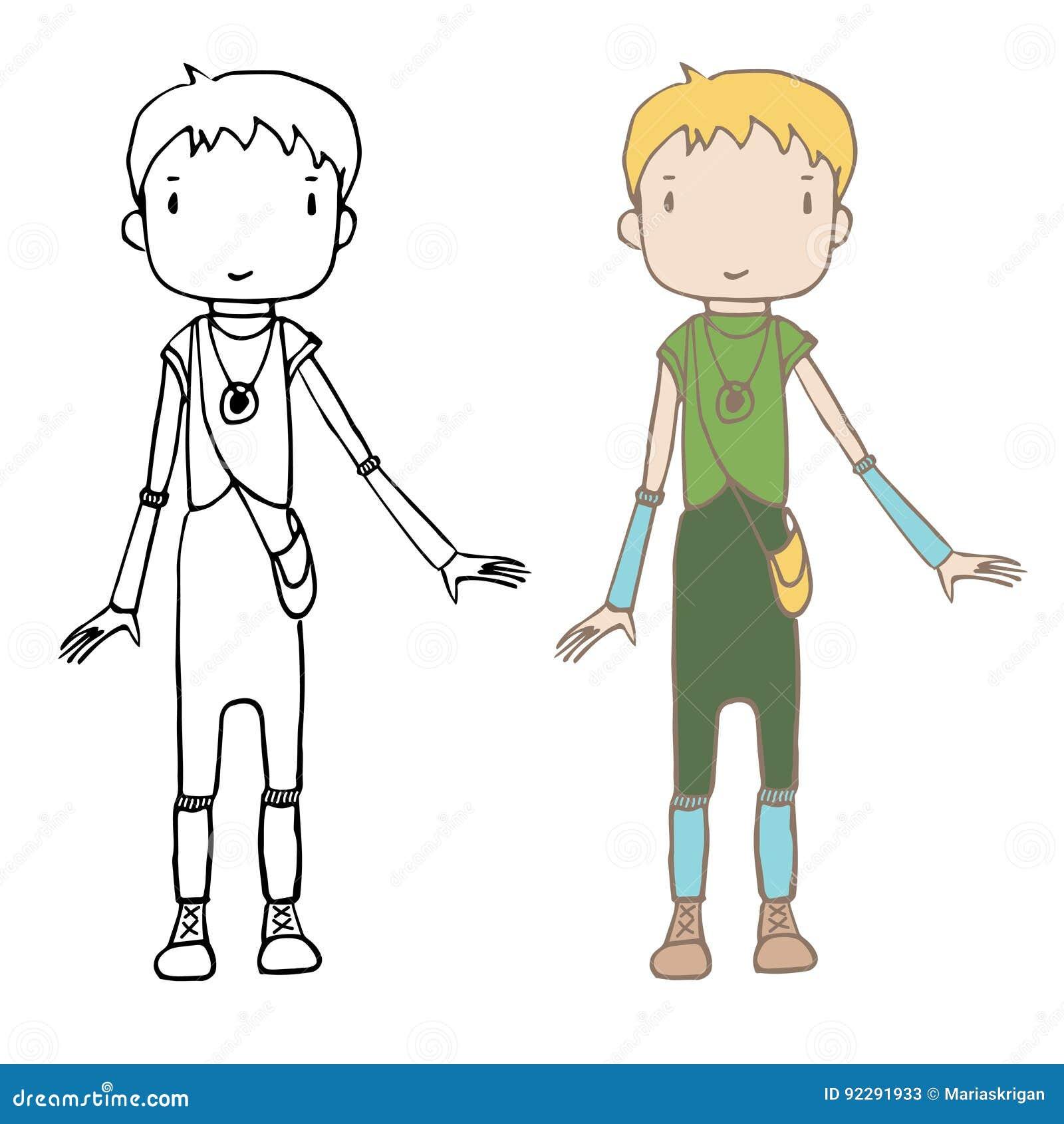 Menina Unisex Dos Desenhos Animados Ilustracao Do Vetor Ilustracao De Animados Unisex 92291933