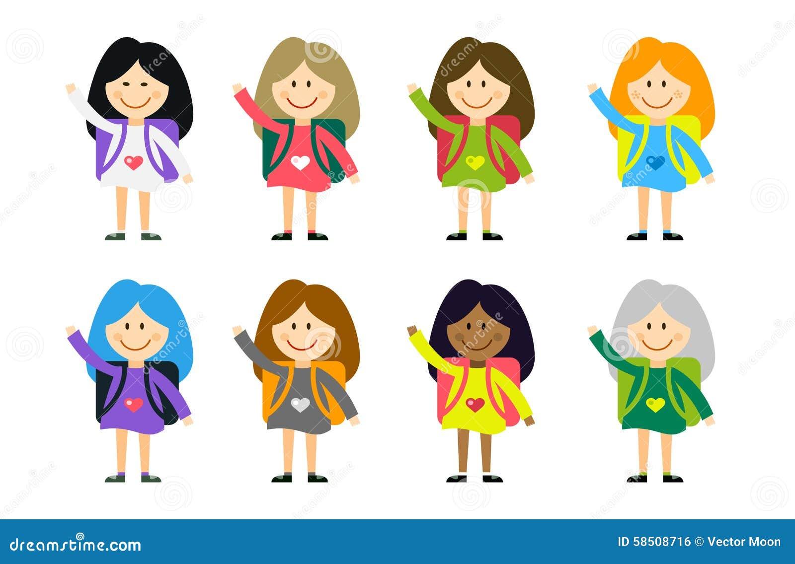 meninas bonitos dos desenhos animados do vetor dos países diferentes