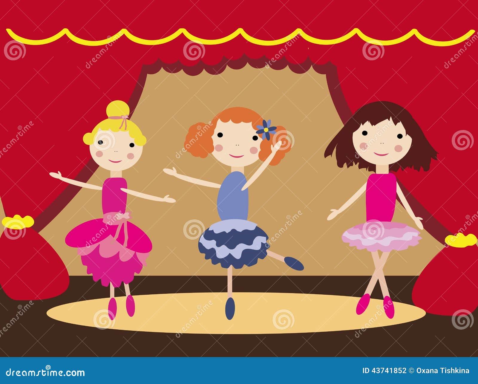 Meninas de dança no teatro de bailado