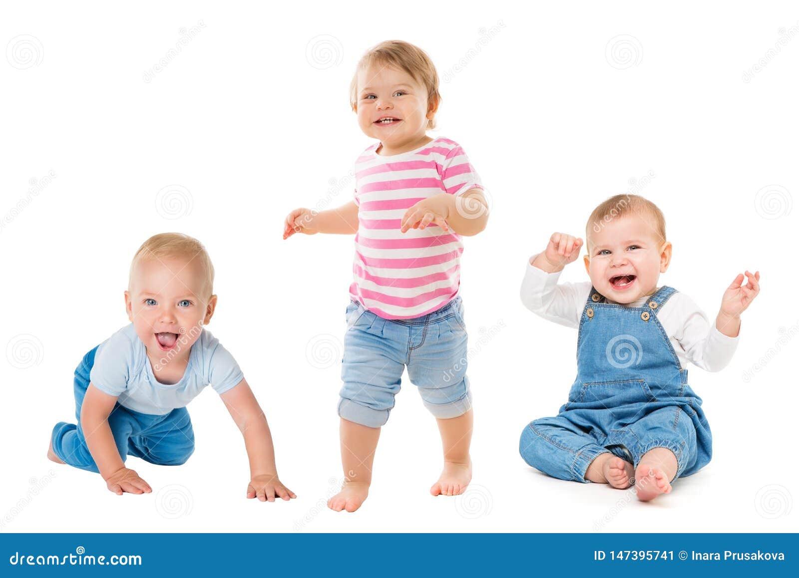 Meninas dos meninos de bebês, crianças infantis eretas de assento de rastejamento, grupo crescente das crianças das crianças isol