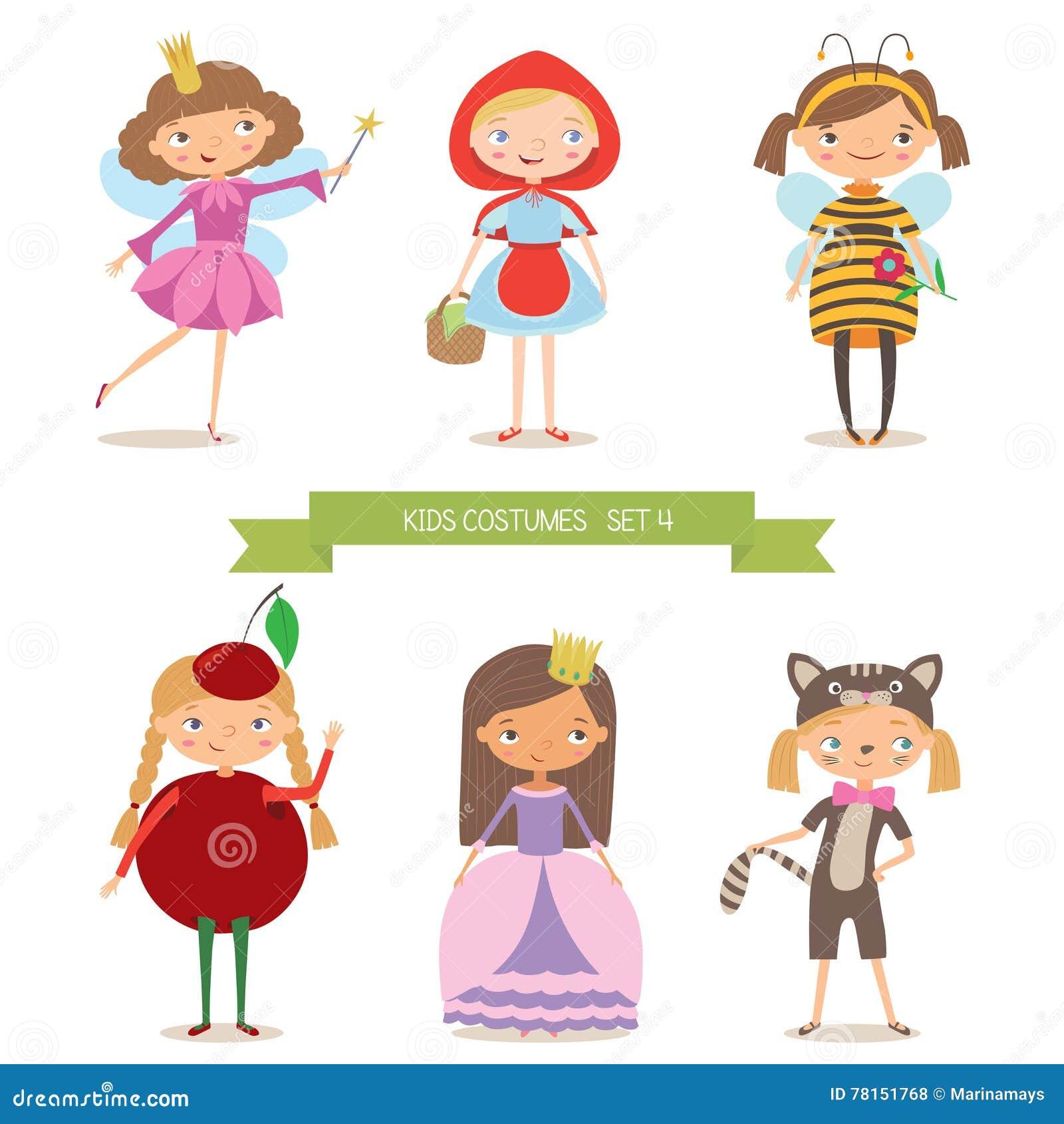 Meninas em trajes diferentes para o partido ou o feriado