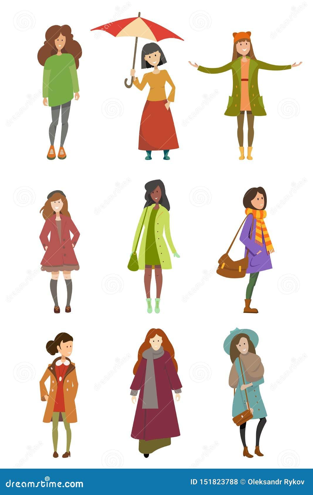 Meninas na roupa diferente do outono