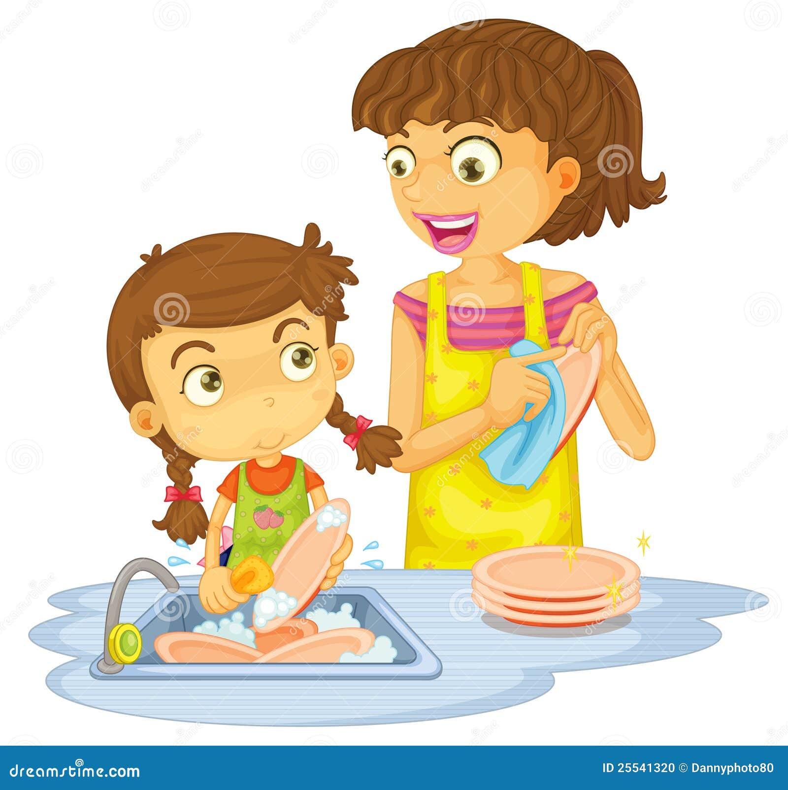 Meninas que lavam placas