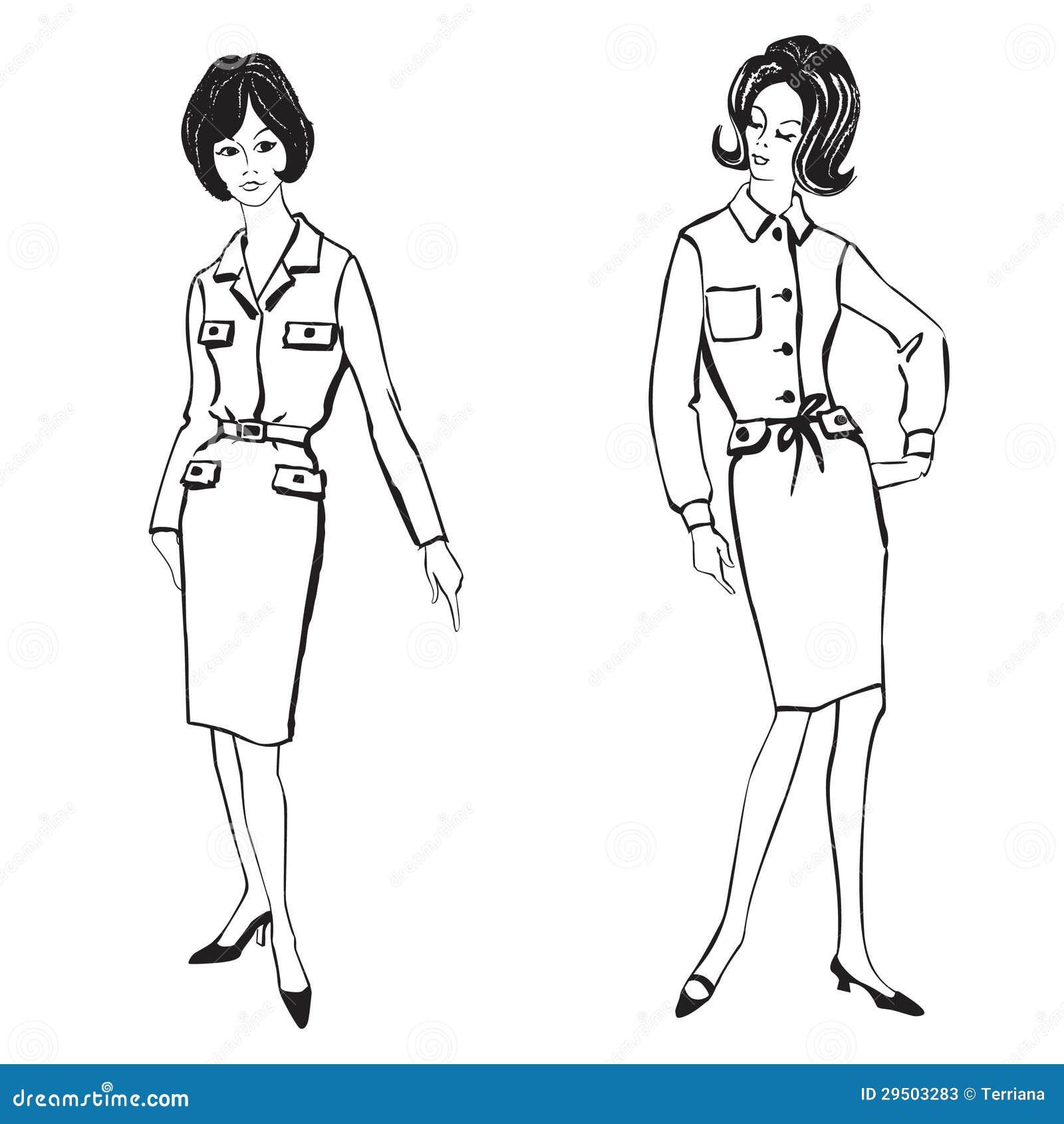 Meninas vestidas forma estilo dos anos 60 dos anos 50 - Estilo anos 60 ...
