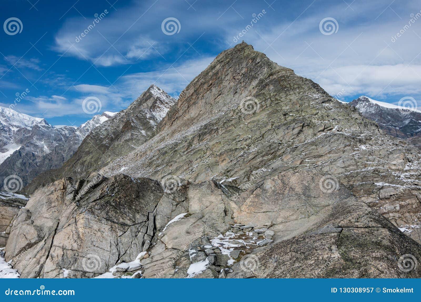 Mening aan Monte Moro-berg van Monte Moro-pas dichtbij Macugnaga,