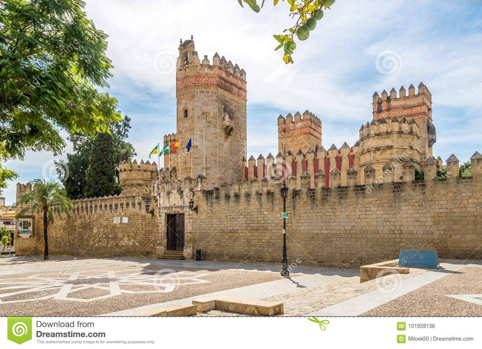 Mening bij het kasteel van San Marco in de stad van Gr Puerto DE Santa Maria, Spanje