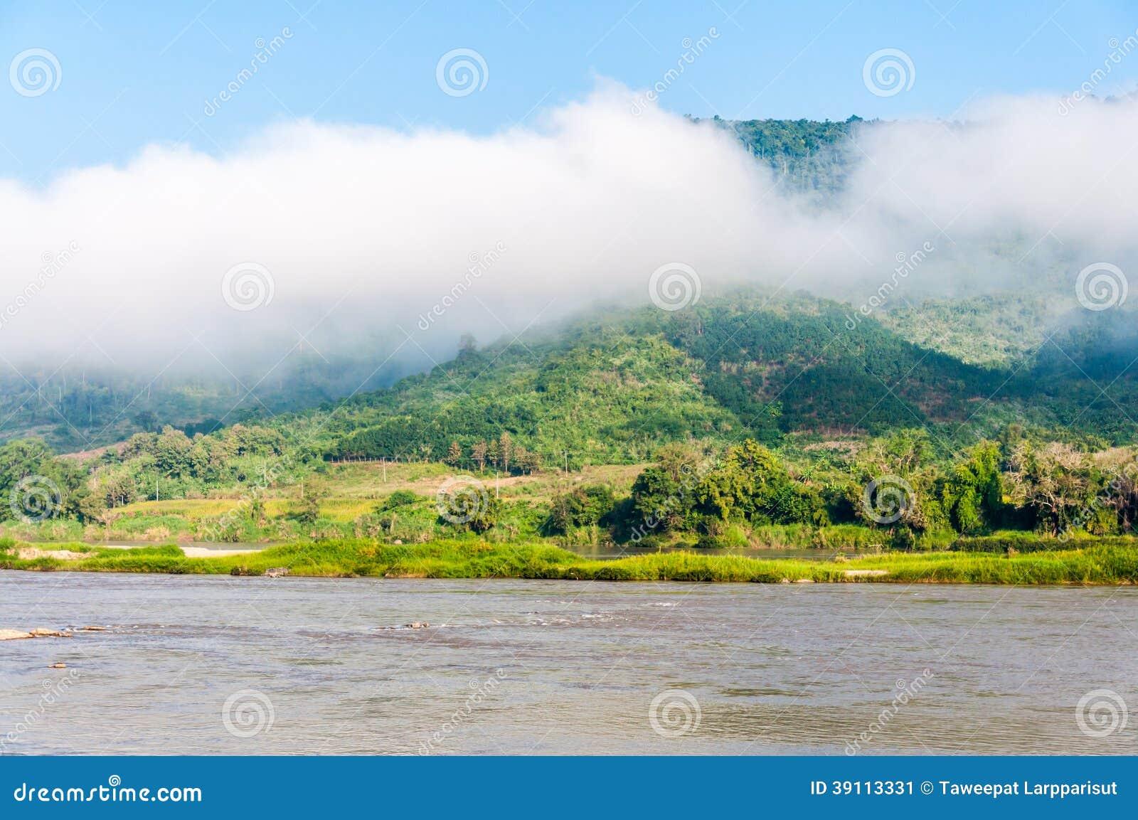 Mening bij Mekong rivier