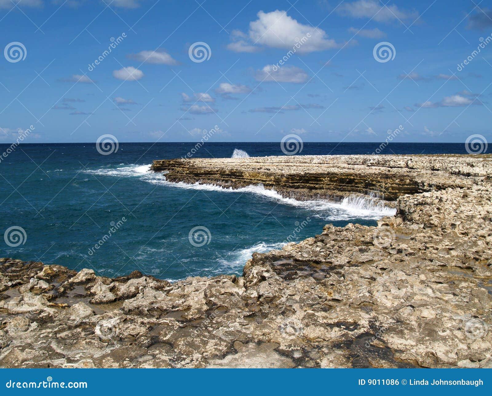 Mening dichtbij de Brug van Duivels op Antigua Barbuda