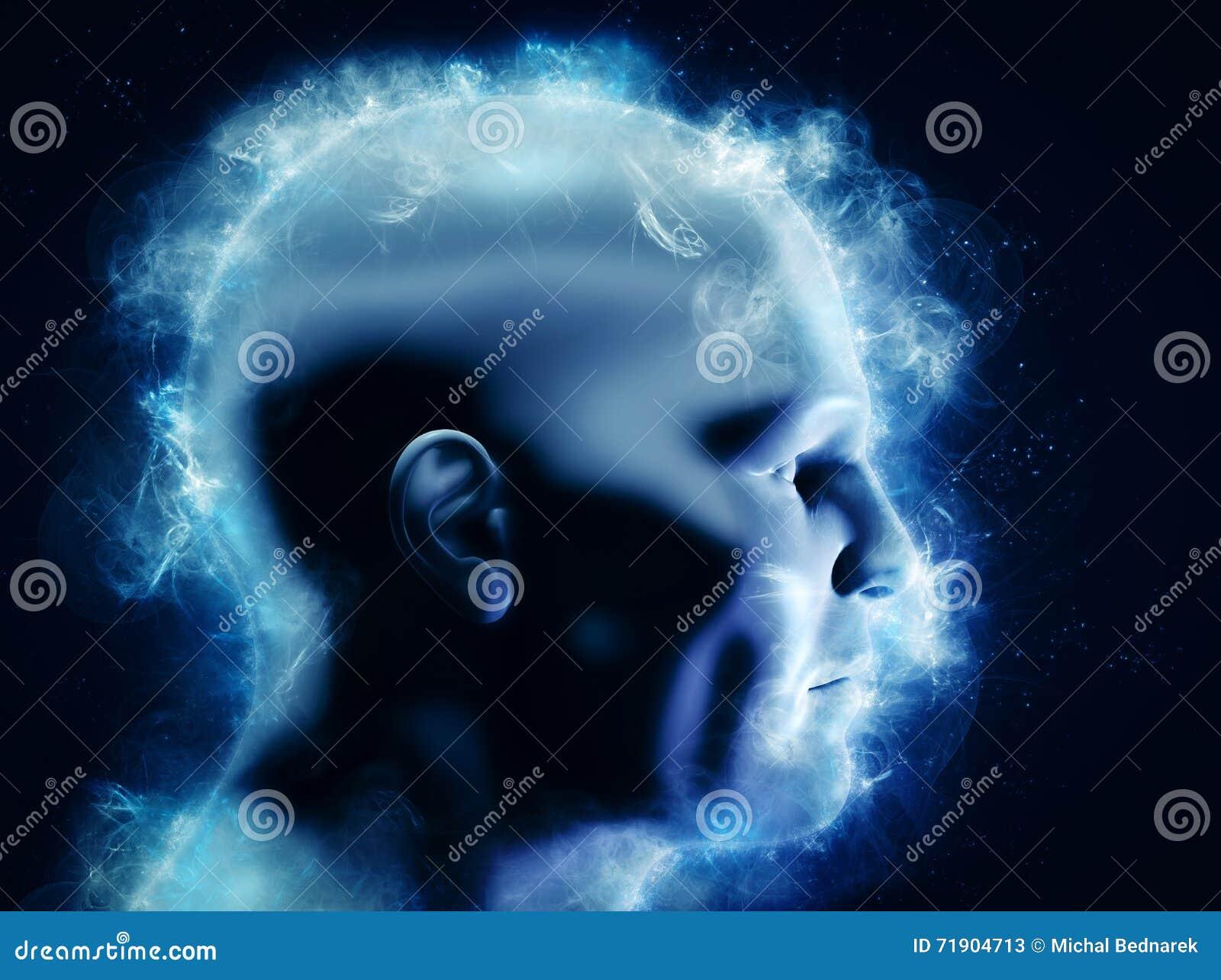 Mening, hjärnmakt och energibegrepp mänskligt huvud 3D med glödande abstrakta former
