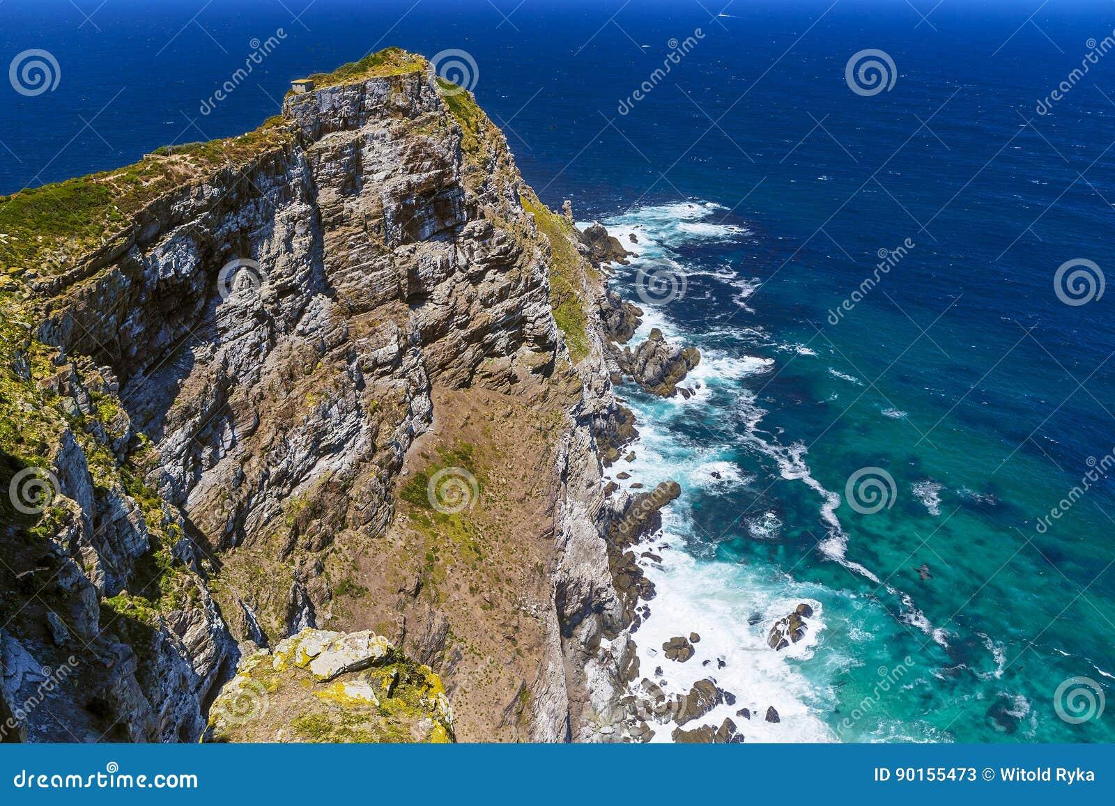 Mening naar Kaapstad van het Punt van de Kaap, Zuiden Afri