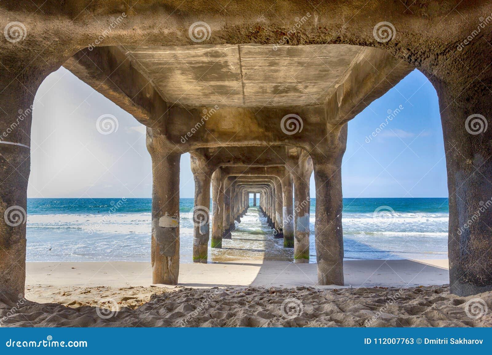 Mening onder de pijler bij het strand van Manhattan, Californië