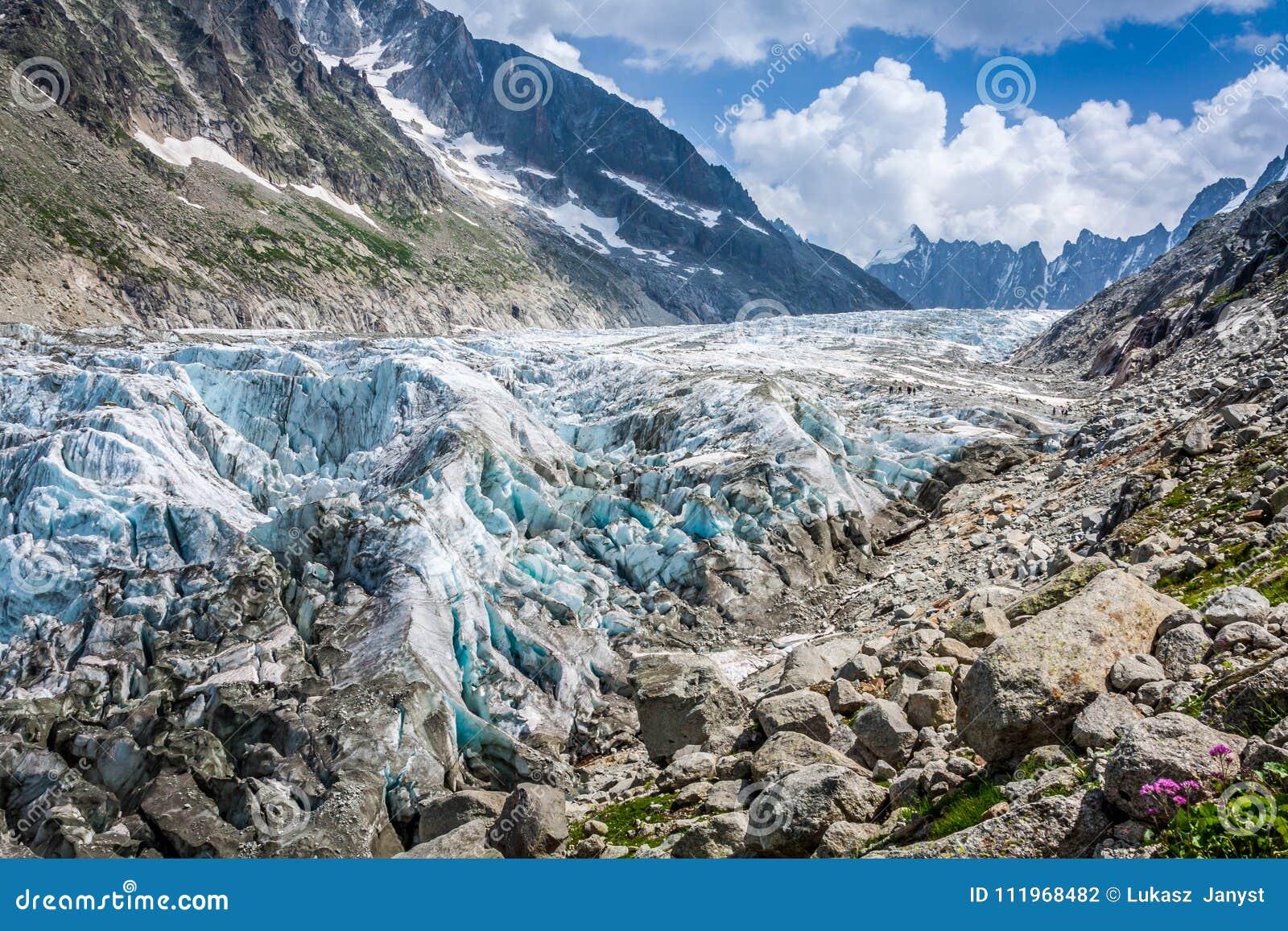 Mening over Argentiere-gletsjer Wandeling aan Argentiere-gletsjer met Th