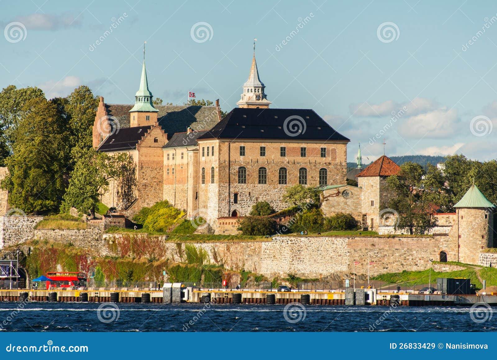 Mening over de haven van de Fjord van Oslo en Vesting Akershus