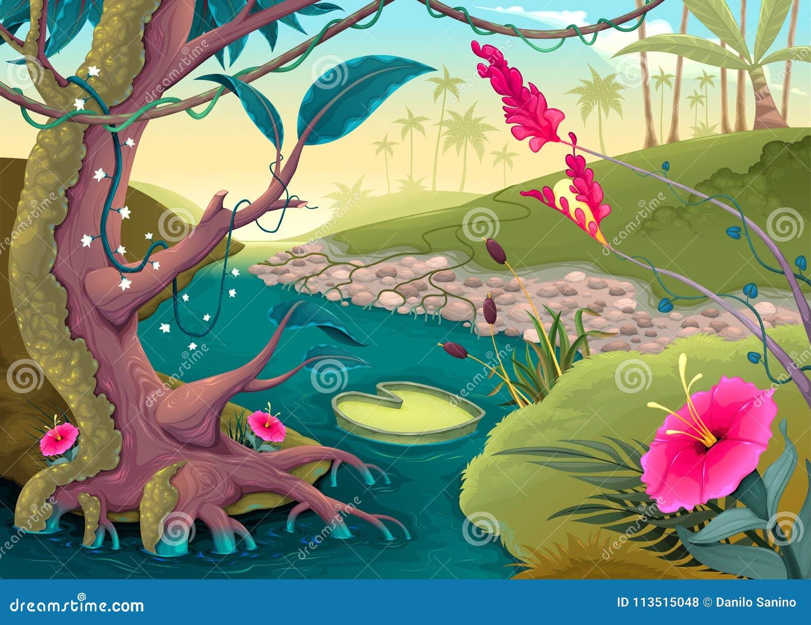 Mening over het bos met gekleurde bloemen en rivier