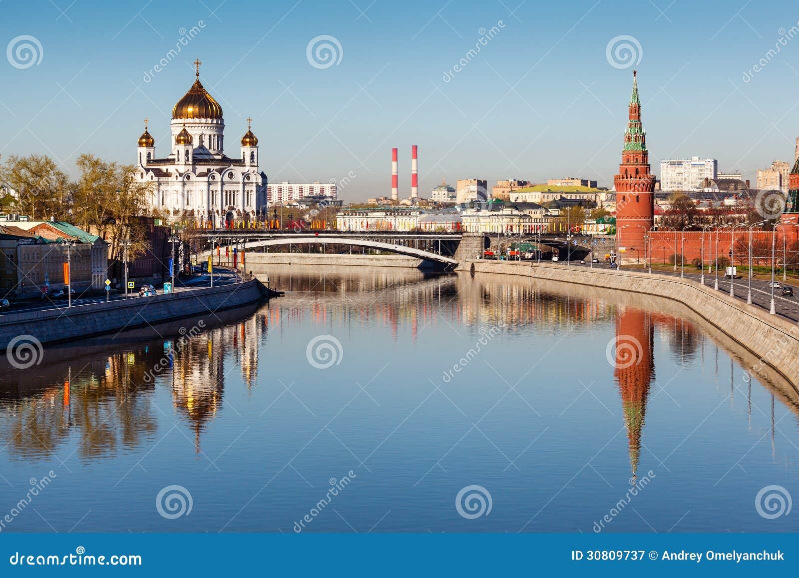 Mening over het Kremlin en Kathedraal van Jesus Christ Saviour