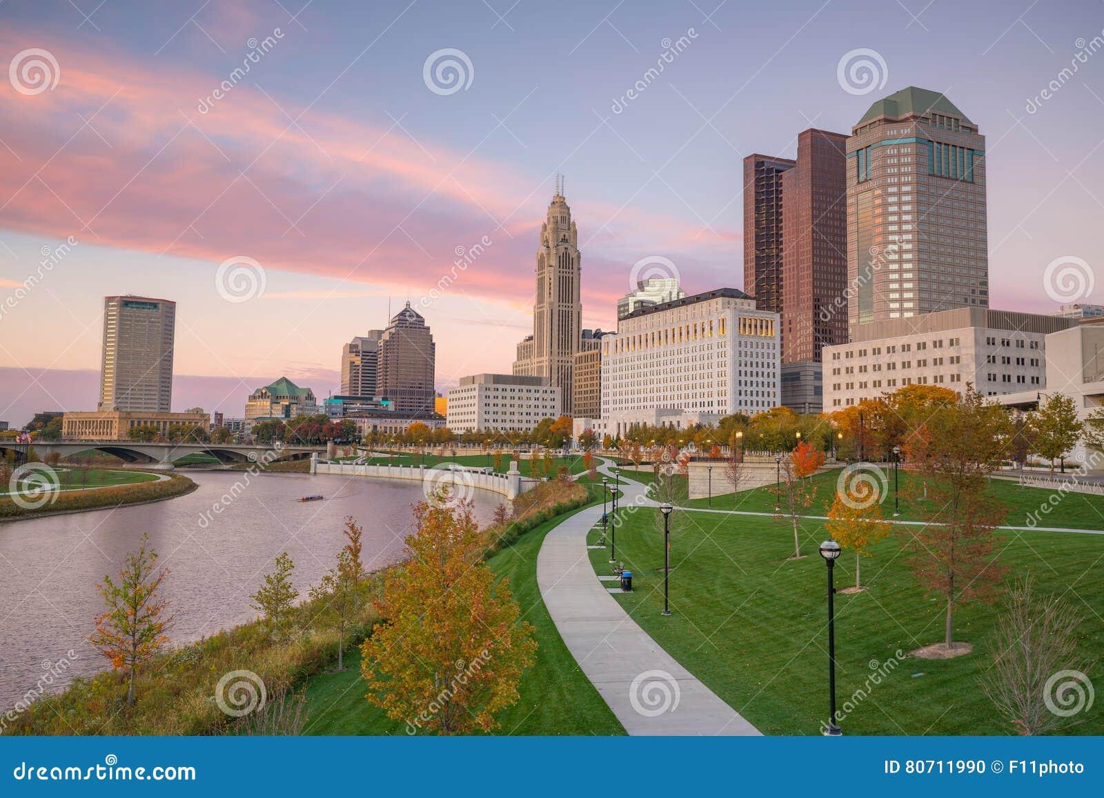 Mening van Columbus Ohio Skyline van de binnenstad
