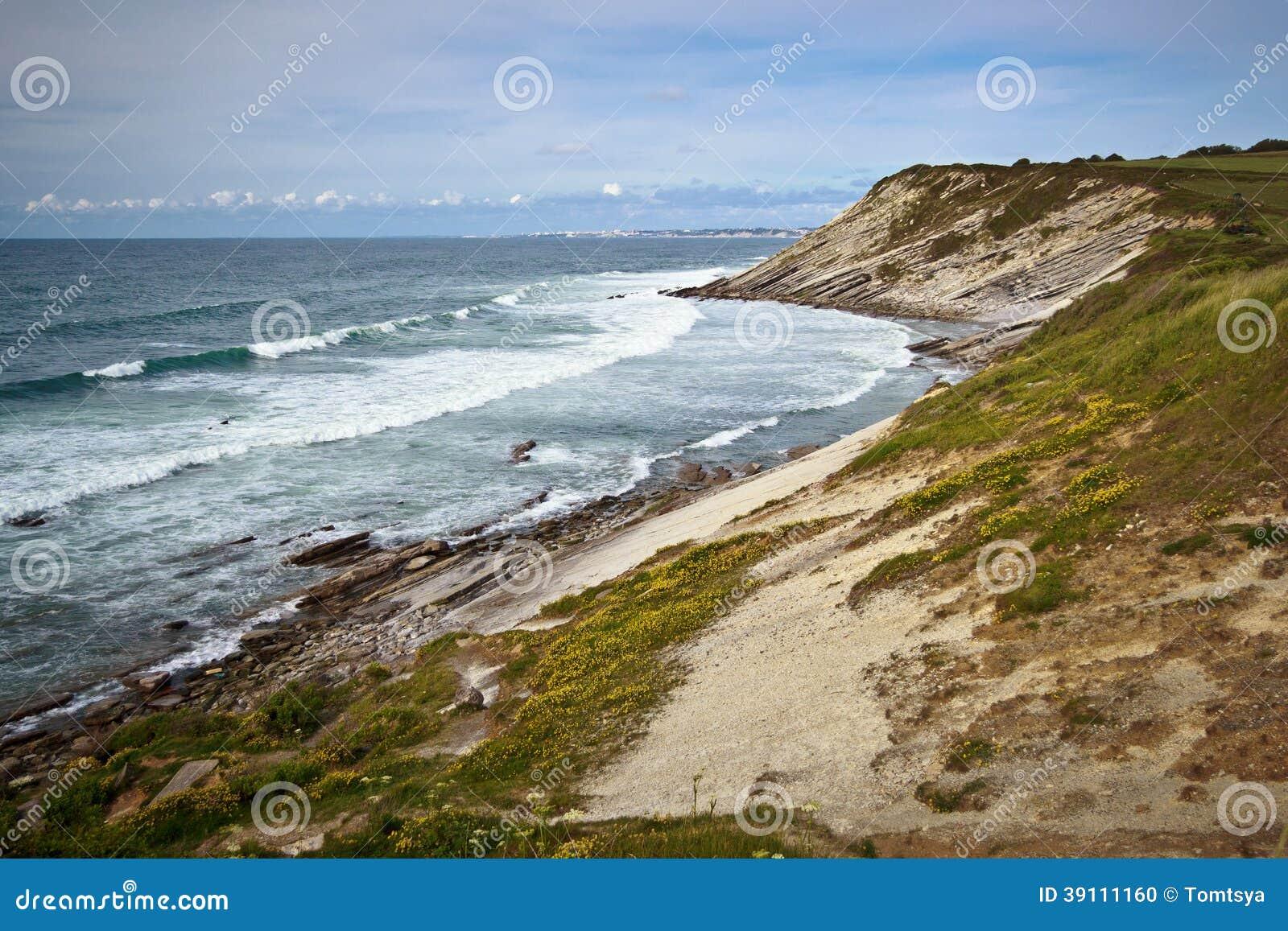 Mening van de Atlantische kust in Frankrijk