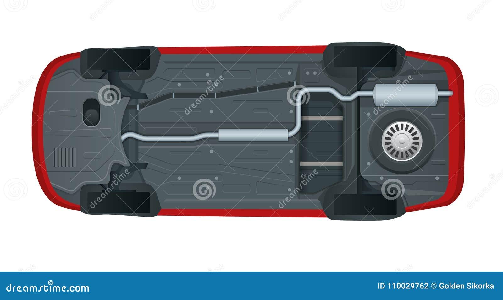 Mening van de bodem van een moderne auto Vector illustratie