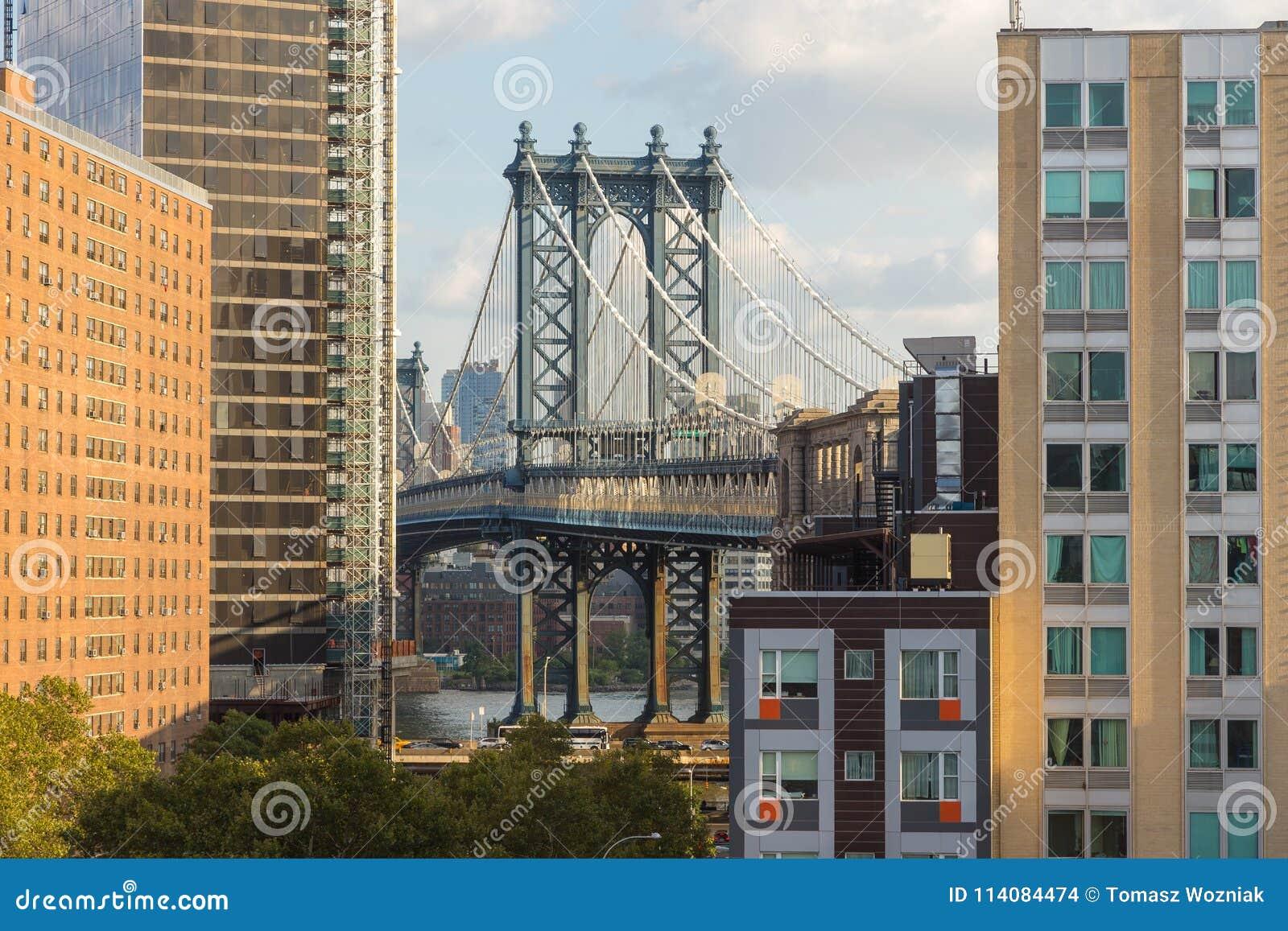 Mening van de Brug van Manhattan en van Brooklyn
