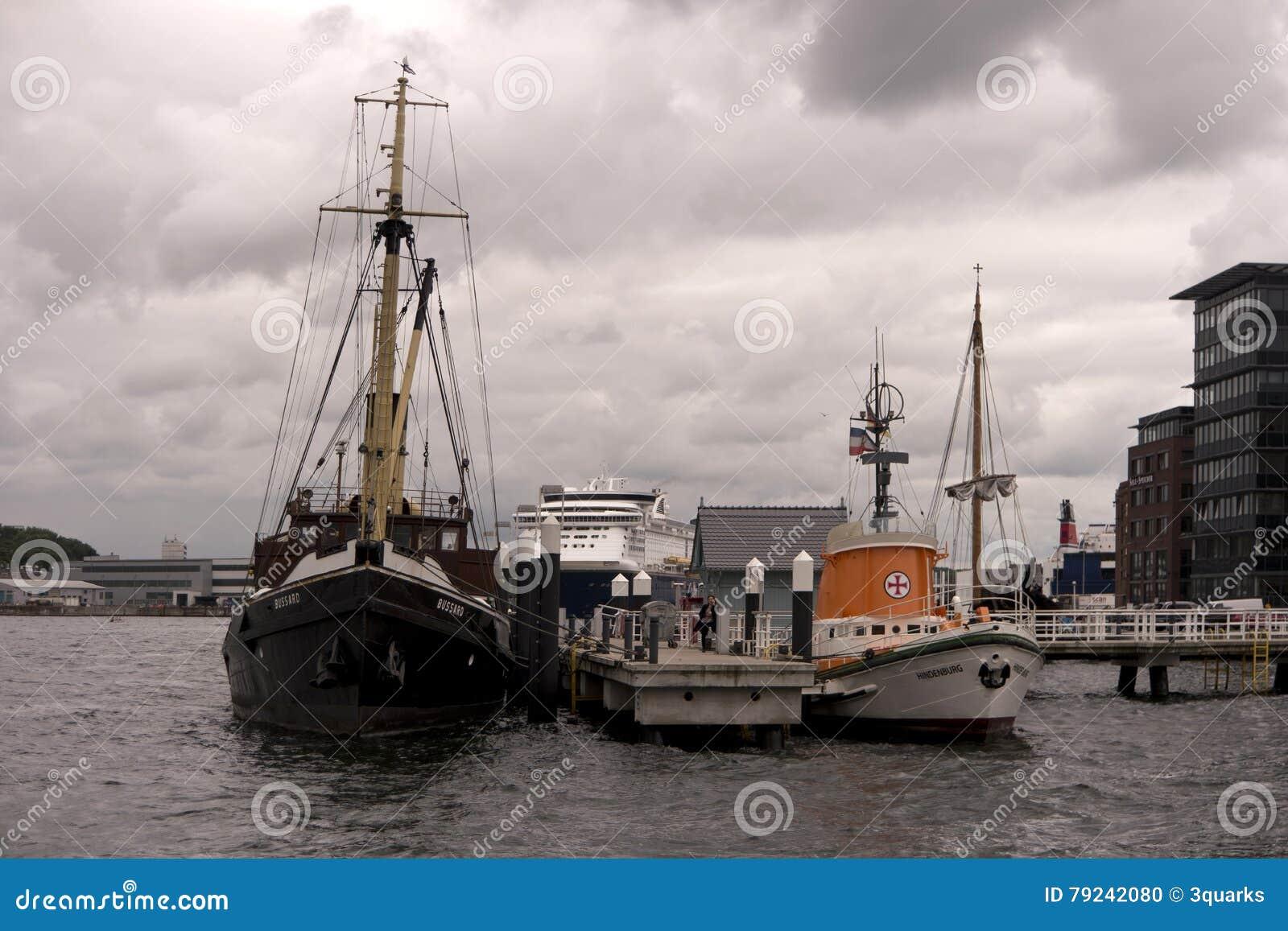 Mening van de haven van Kiel in Duitsland